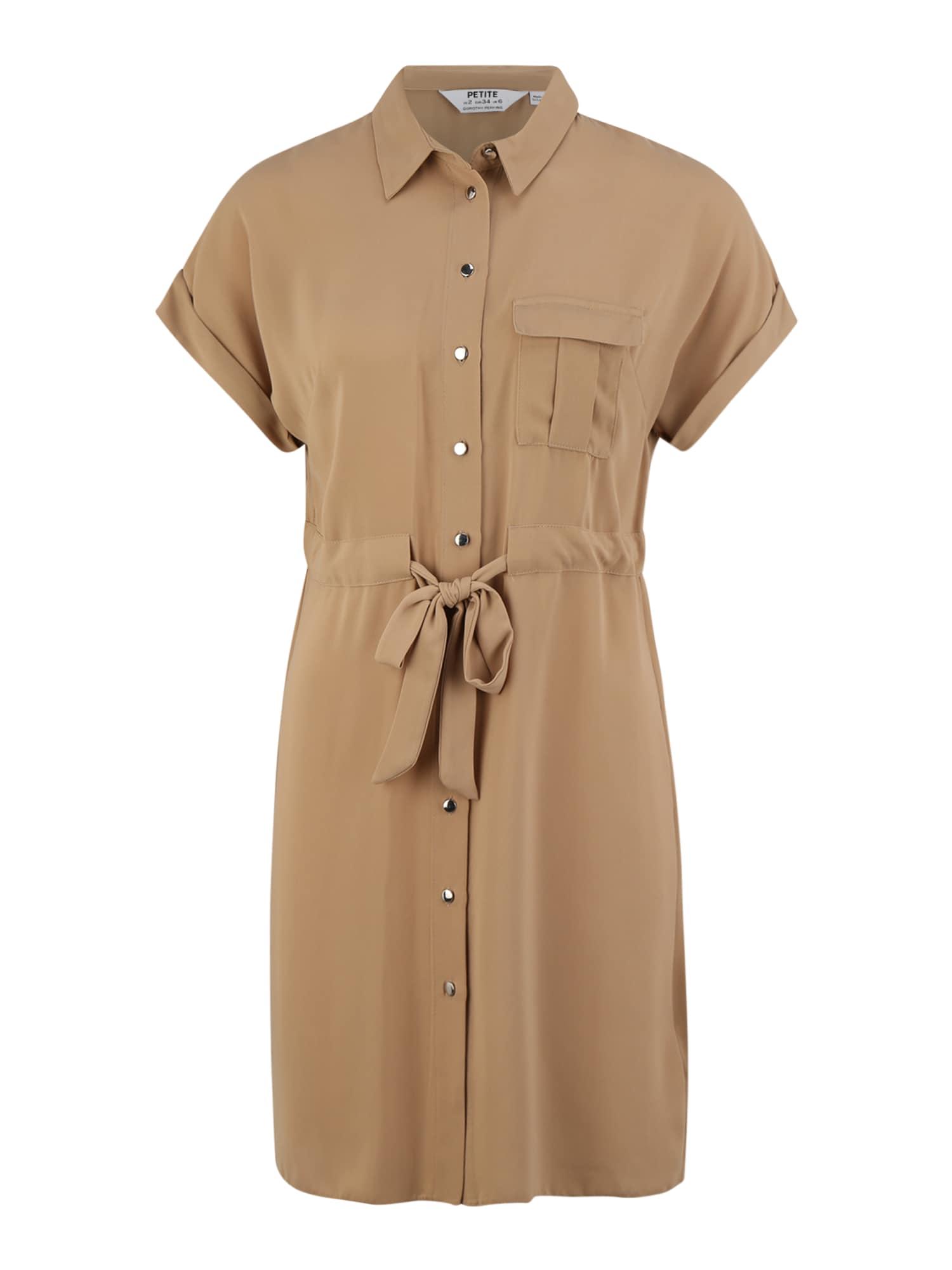 Dorothy Perkins (Petite) Košeľové šaty  hnedé