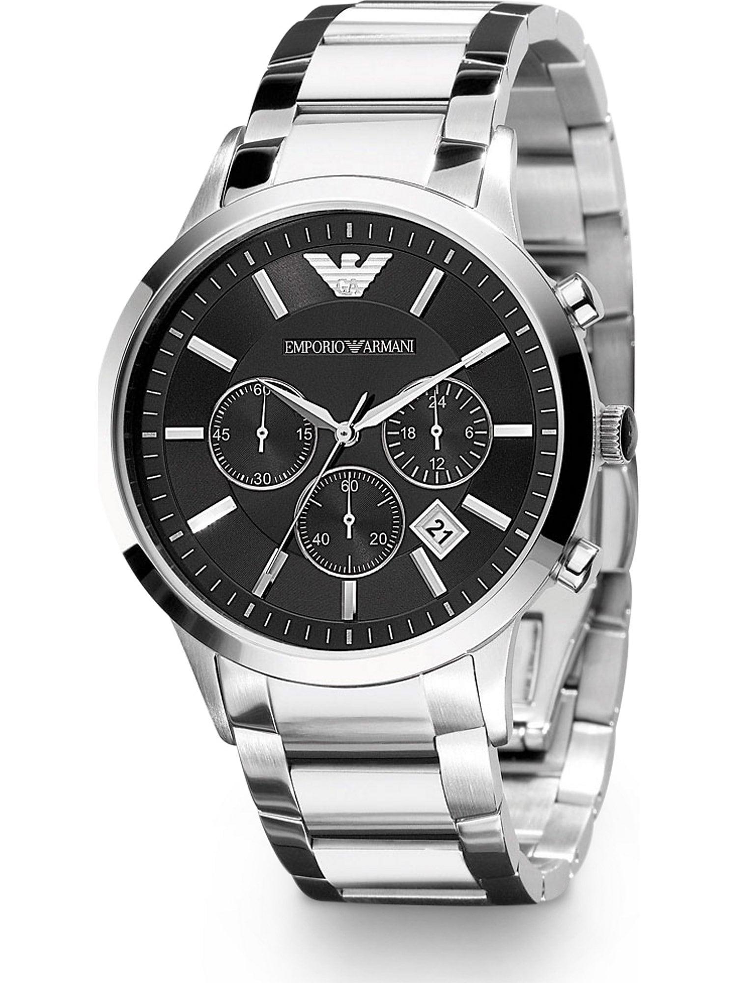 Emporio Armani Analoginis (įprasto dizaino) laikrodis sidabrinė / juoda