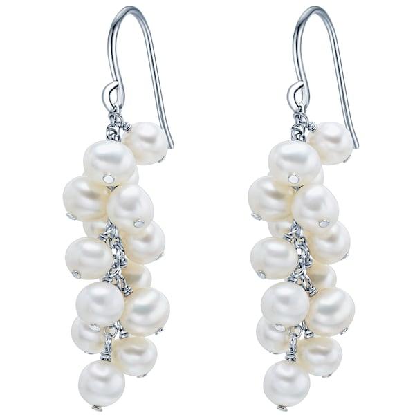 Ohrringe für Frauen - Valero Pearls Silber Ohrhänger mit Süßwasser Zuchtperlen silber  - Onlineshop ABOUT YOU