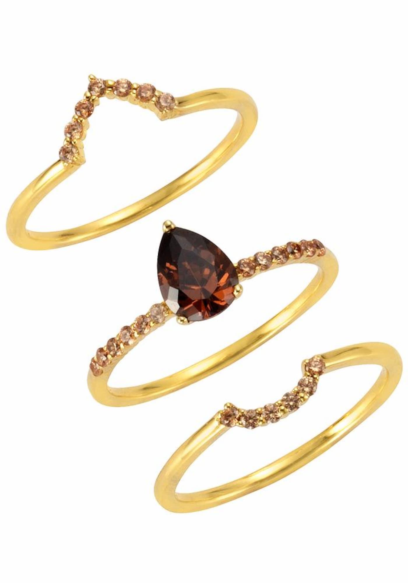 Schmucksets für Frauen - FIRETTI Ring Set (Set, 3 tlg.) braun gold  - Onlineshop ABOUT YOU