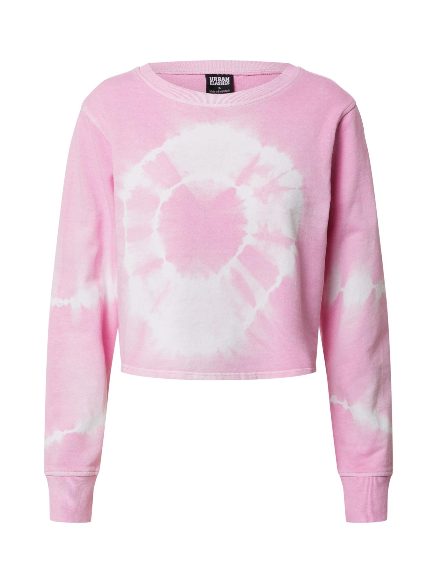 Urban Classics Mikina 'Tie Dye'  ružová / prírodná biela