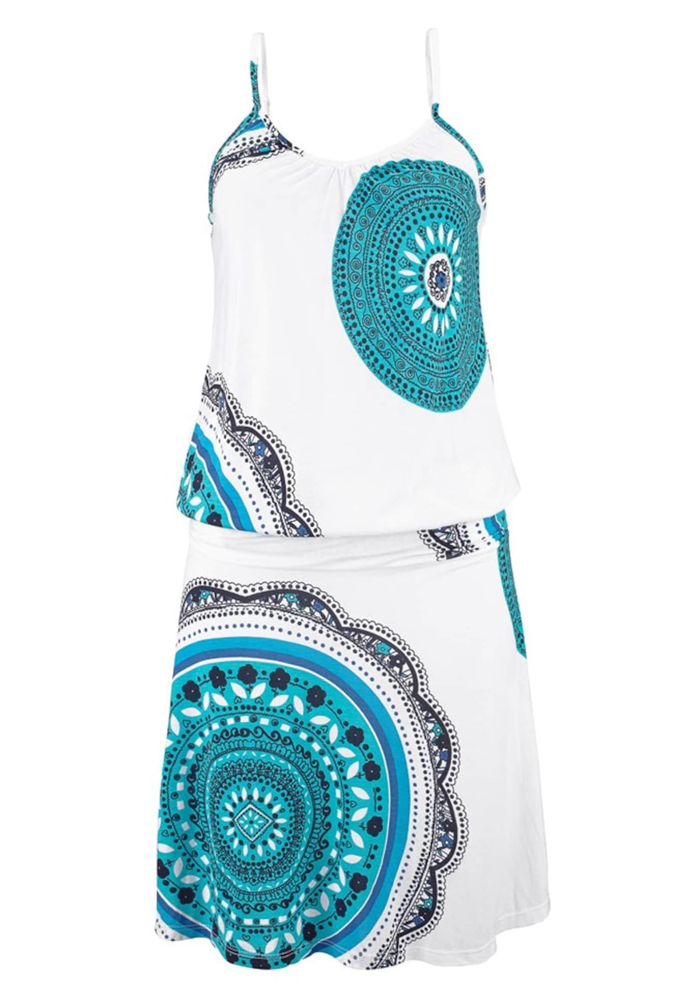 BEACH TIME Paplūdimio suknelė balta / turkio spalva