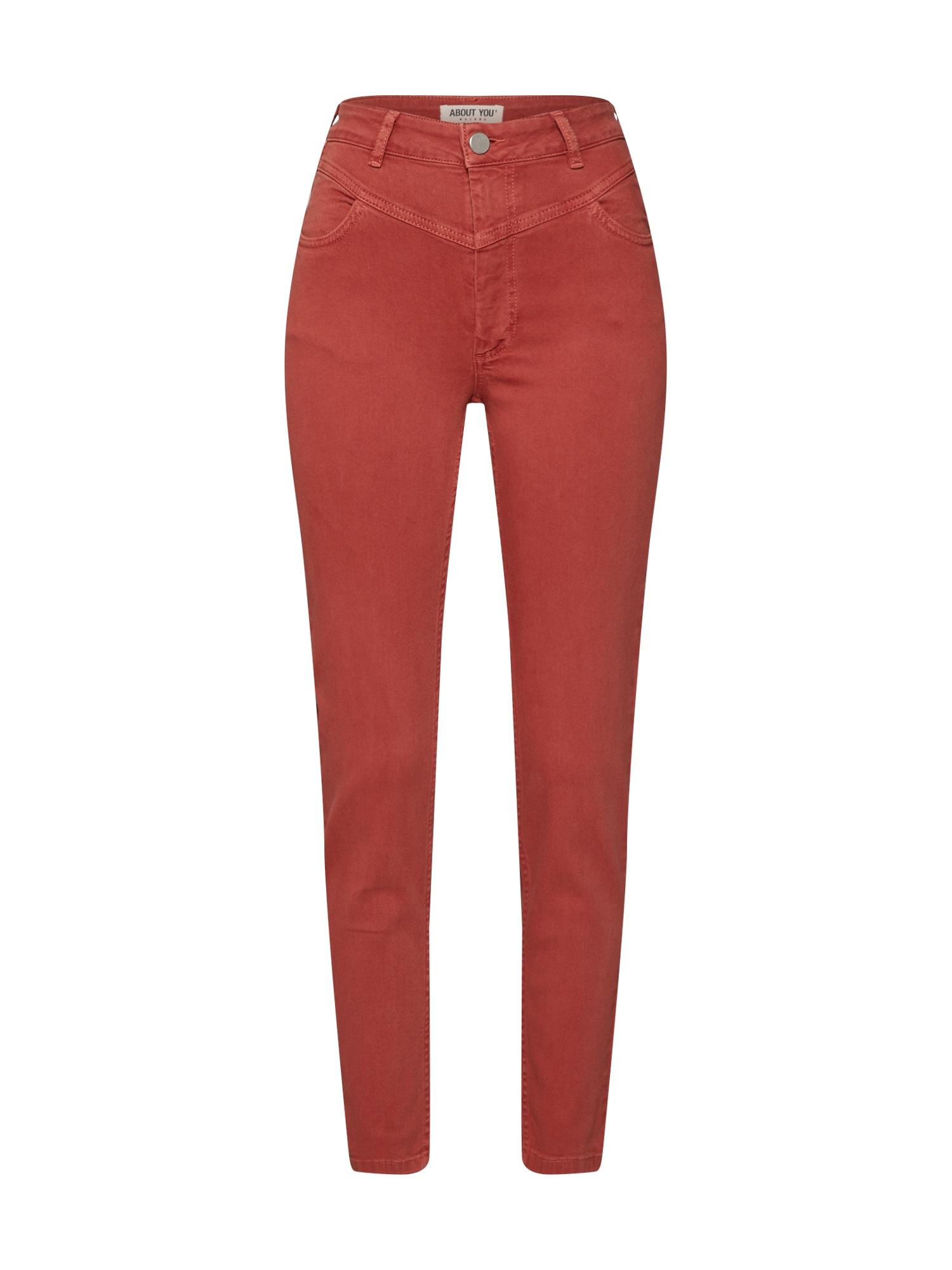 ABOUT YOU Džinsai 'Delia Jeans' rūdžių raudona