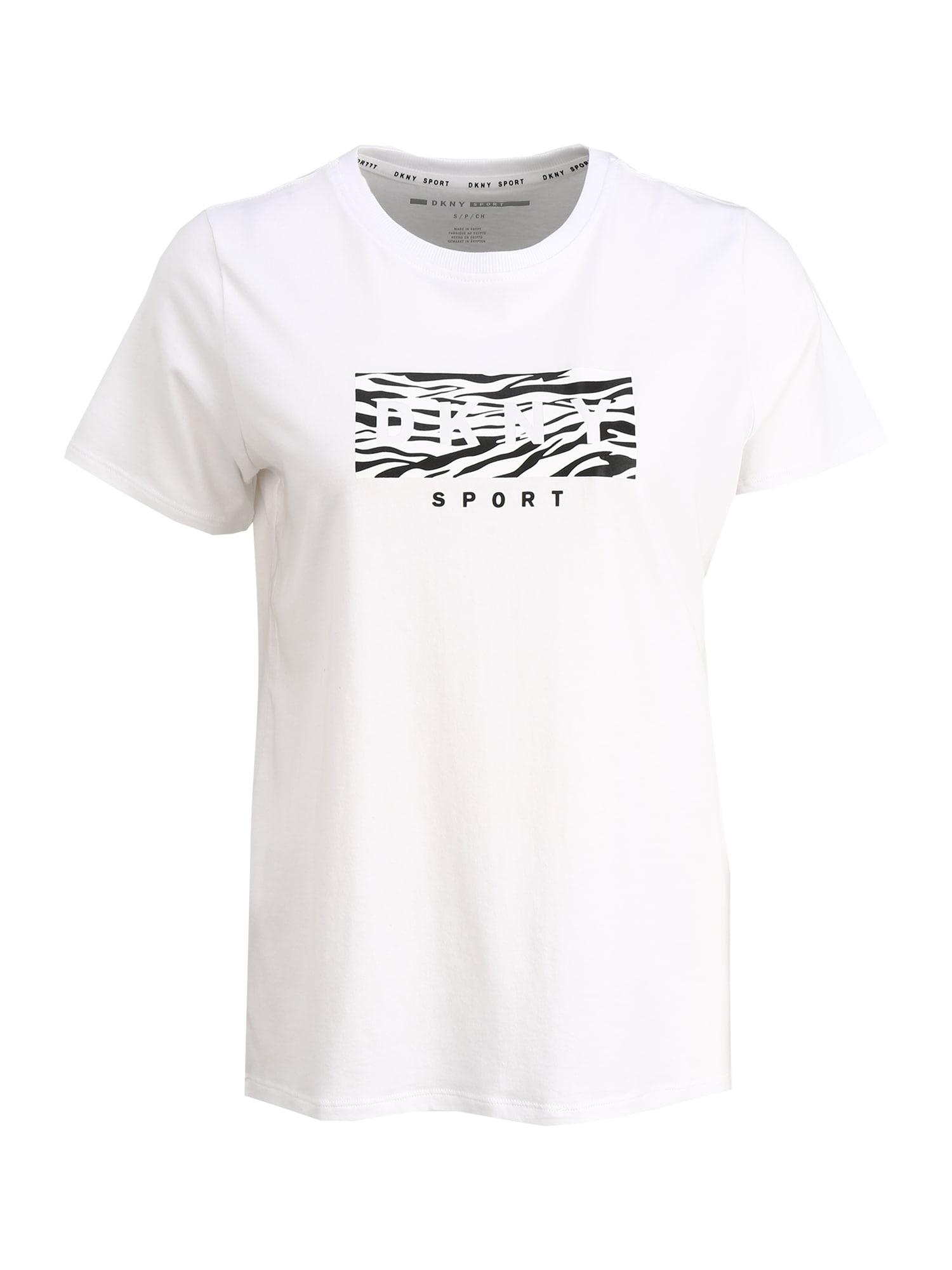 DKNY Sport Sportiniai marškinėliai juoda / balta
