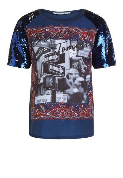 Oberteile - T Shirt mit Pailletten › Oui › blau dunkelblau  - Onlineshop ABOUT YOU