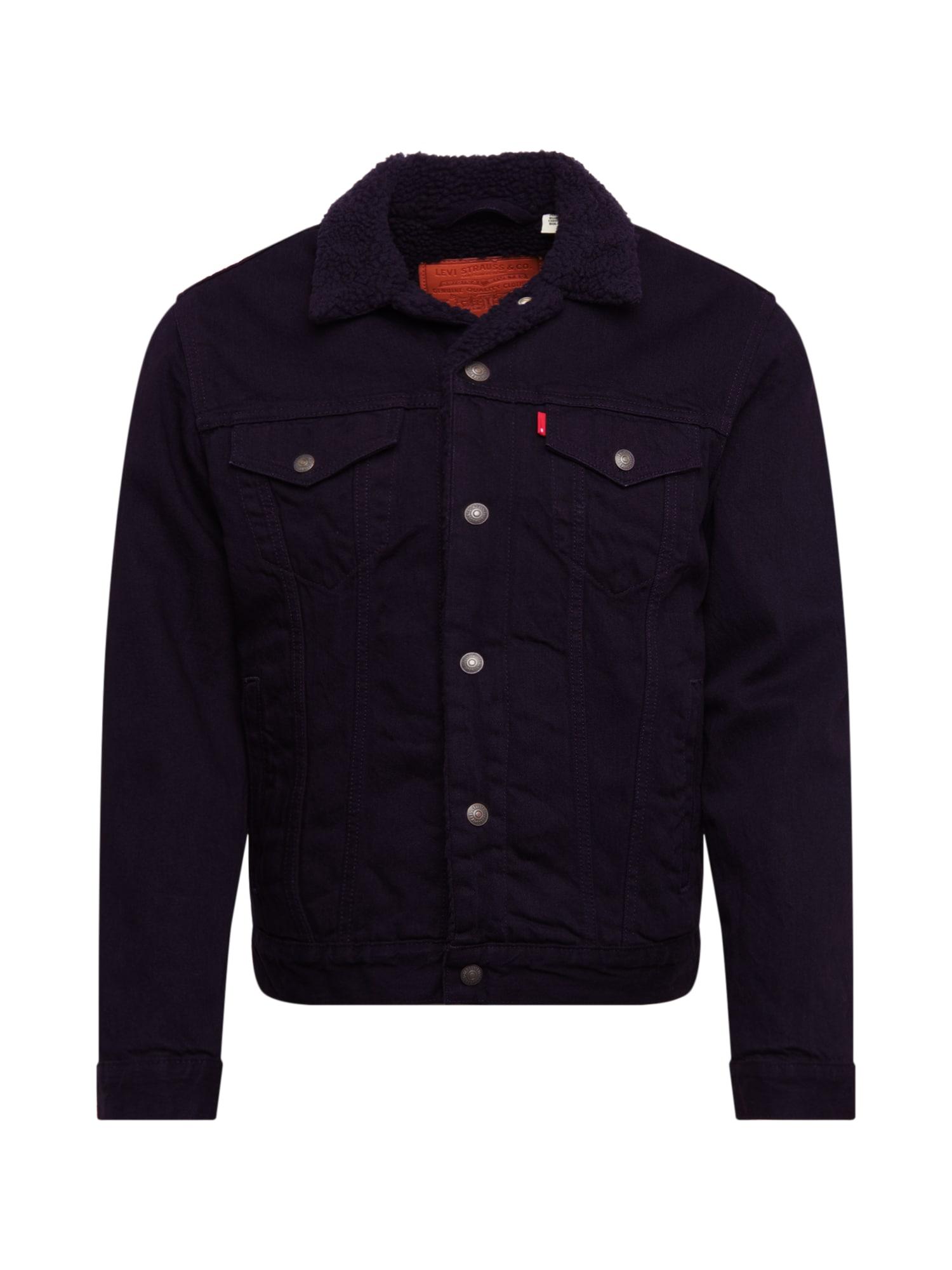 LEVI'S Demisezoninė striukė 'TYPE 3 SHERPA TRUCKER' juodo džinso spalva