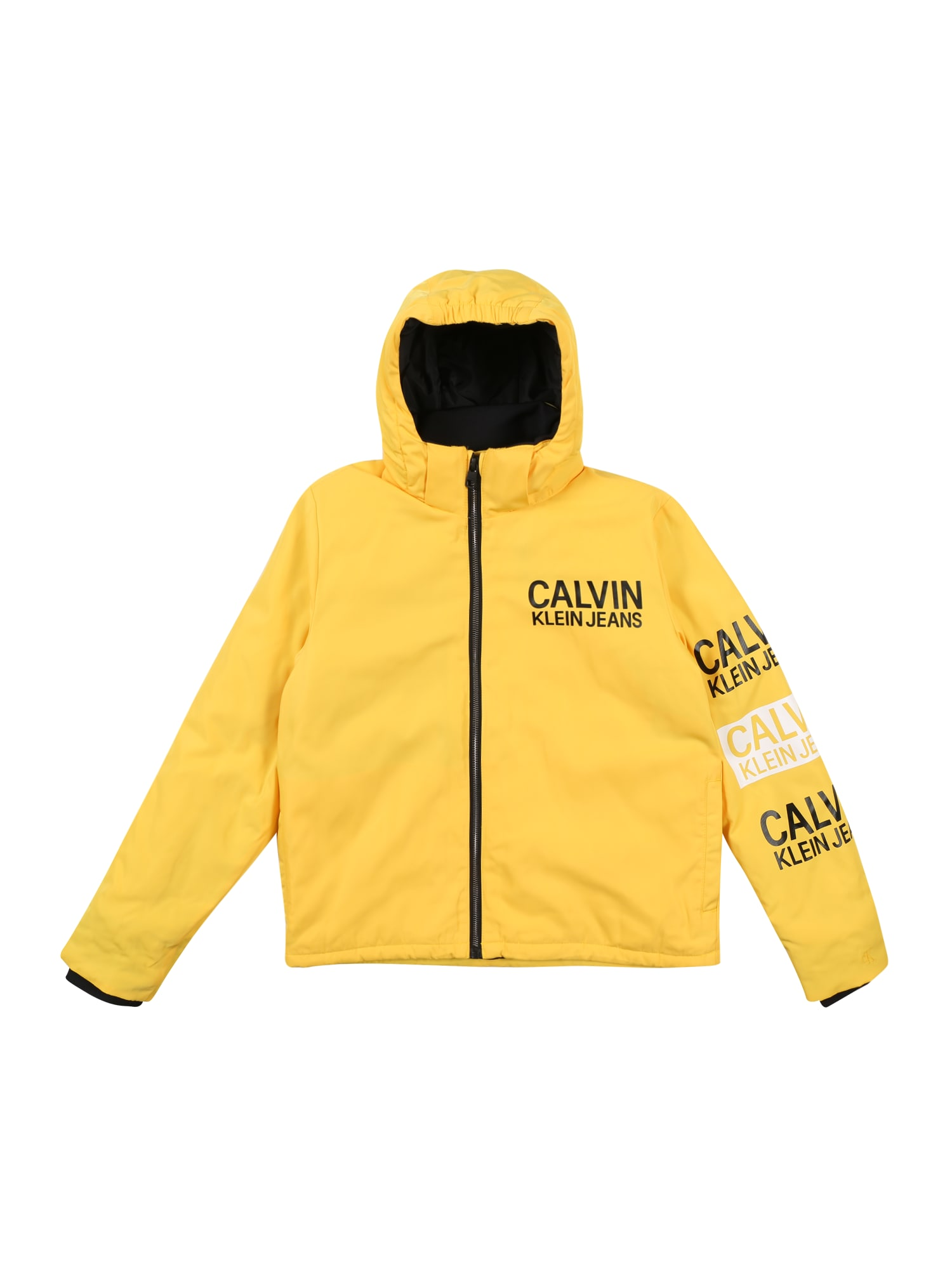 Calvin Klein Jeans Žieminė striukė 'STAMP LOGO HOODED SH' geltona