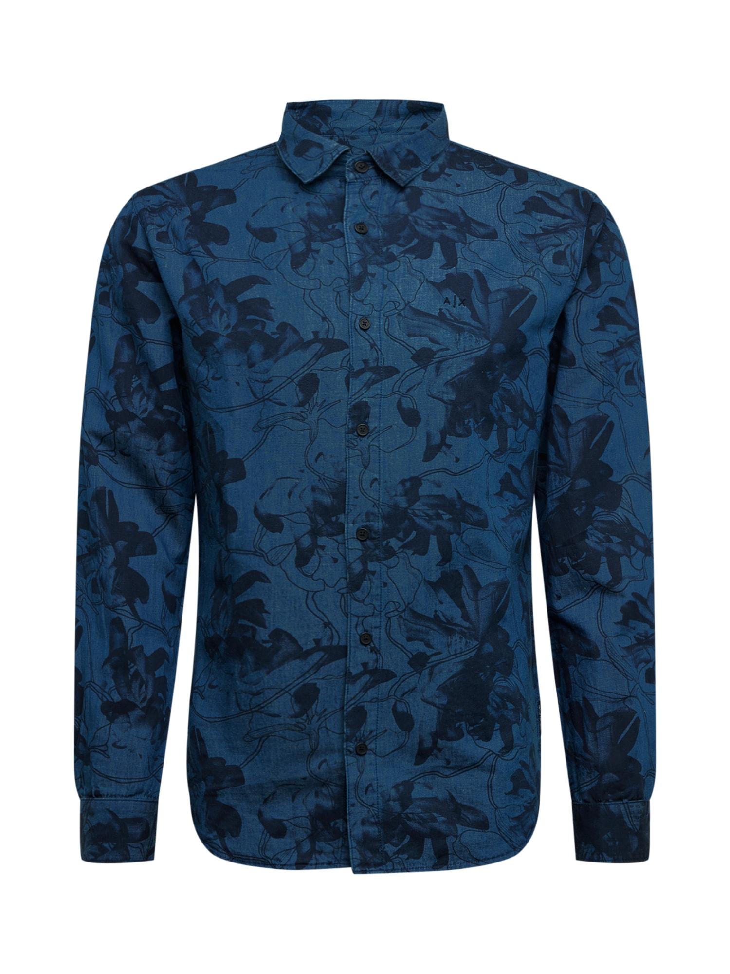 ARMANI EXCHANGE Dalykiniai marškiniai tamsiai mėlyna