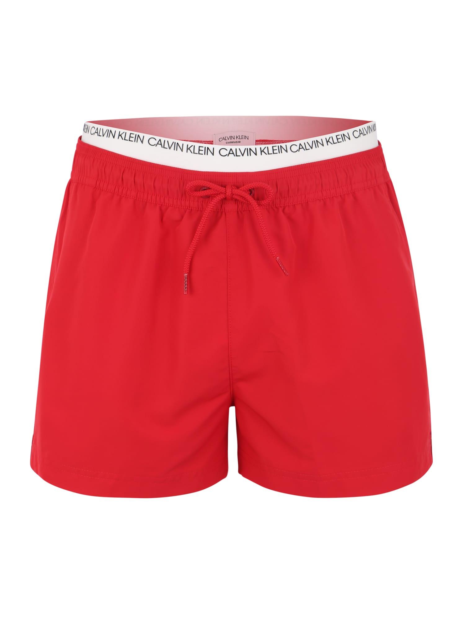 Plavecké šortky DOUBLE WAISTBAND červená bílá Calvin Klein Swimwear