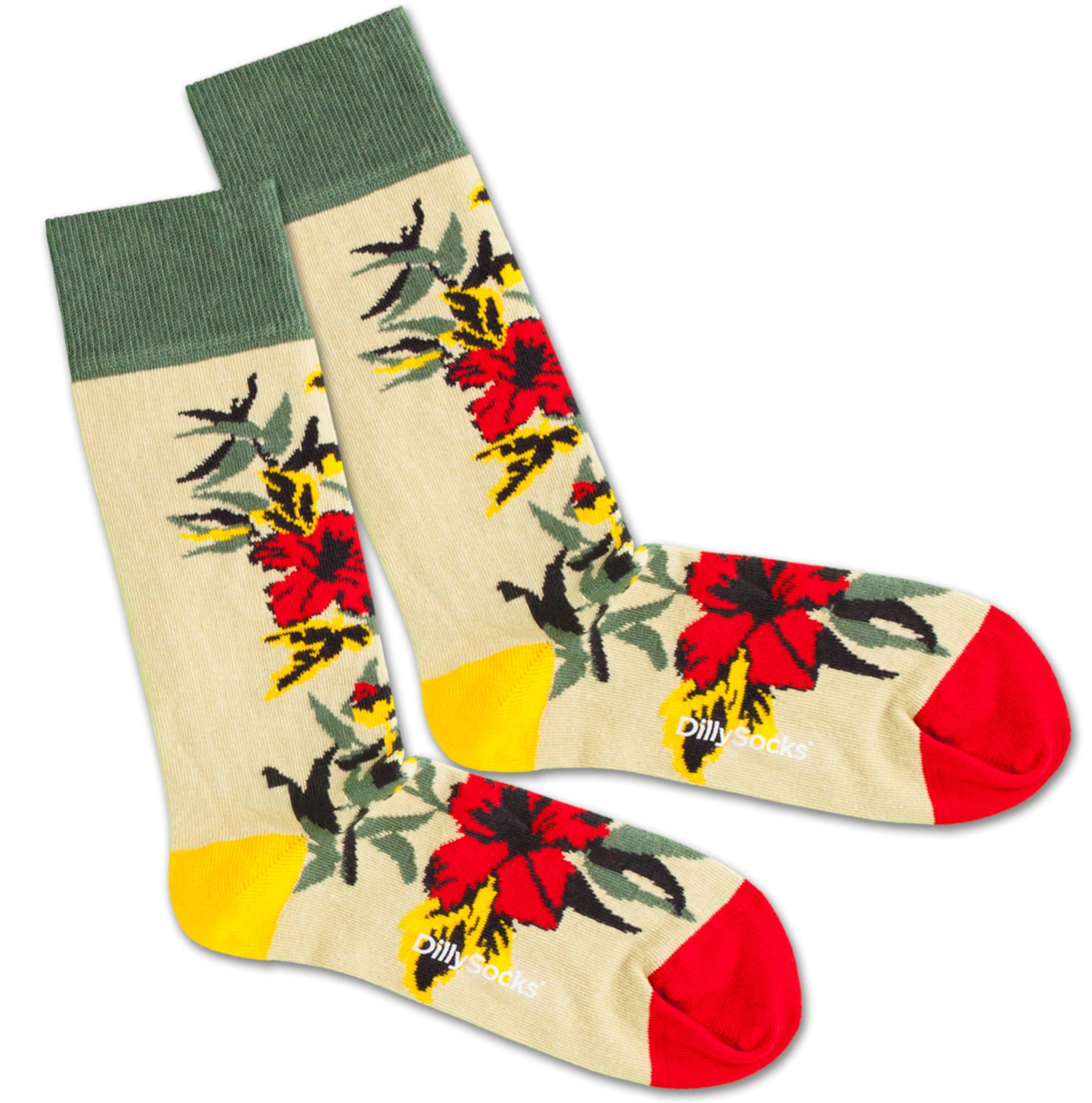 Ponožky Dry Flower béžová žlutá zelená červená DillySocks