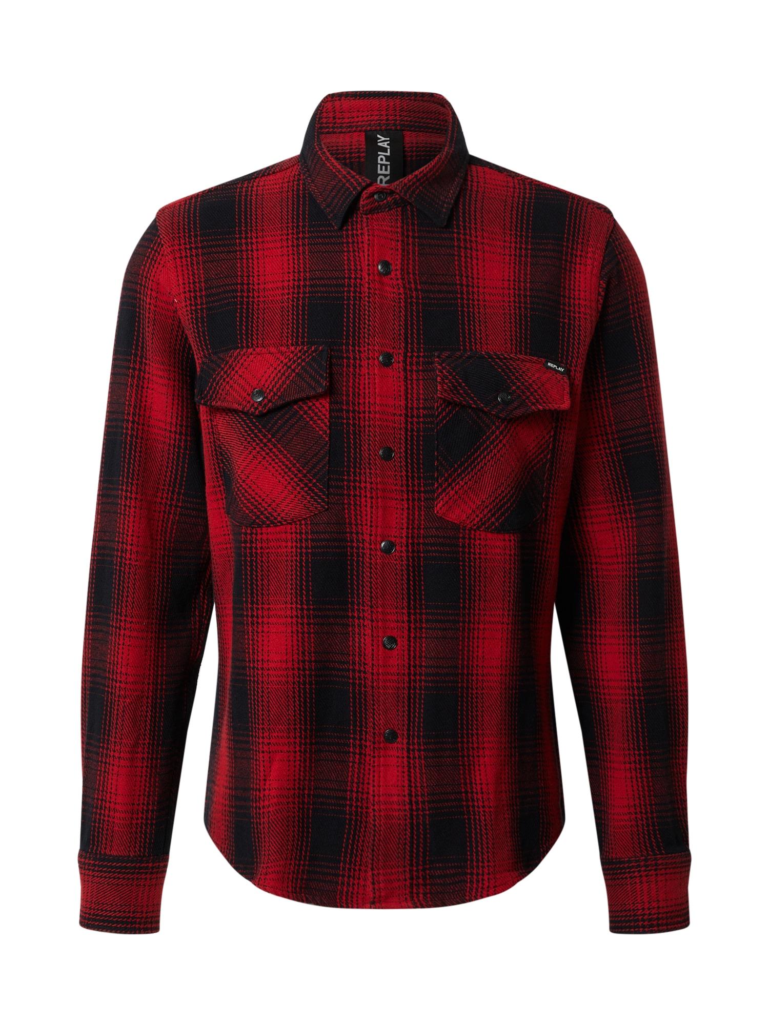 REPLAY Marškiniai juoda / raudona