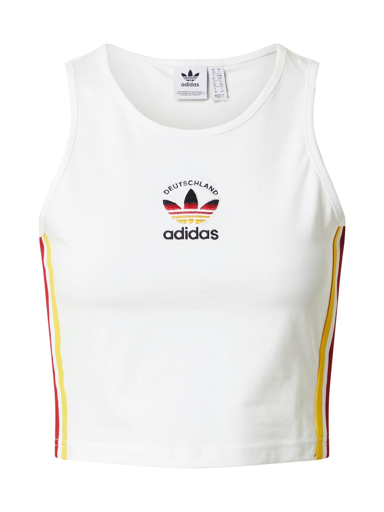 ADIDAS ORIGINALS Palaidinė be rankovių balta / geltona / tamsiai raudona / juoda
