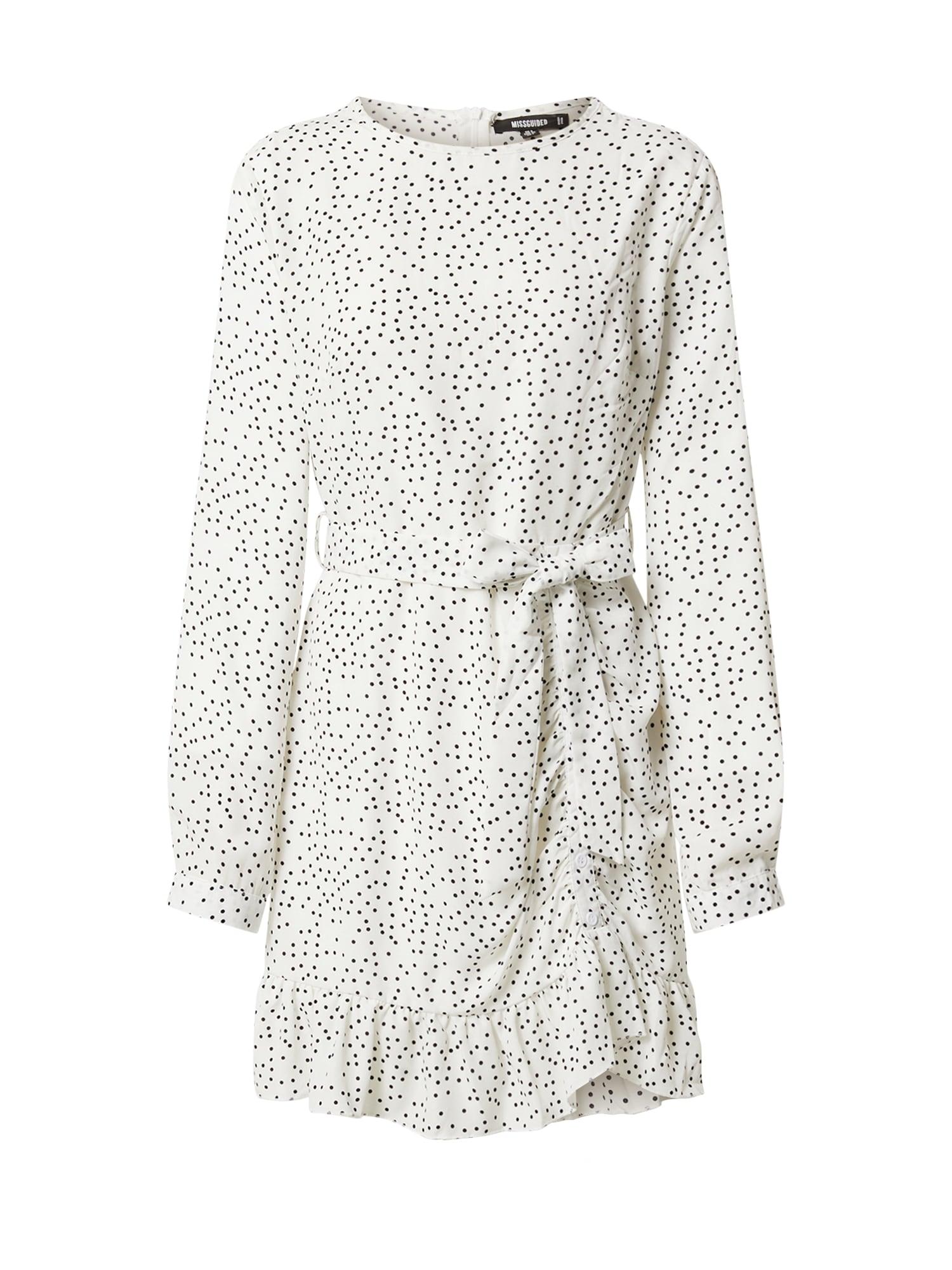 Missguided Palaidinės tipo suknelė balta / juoda