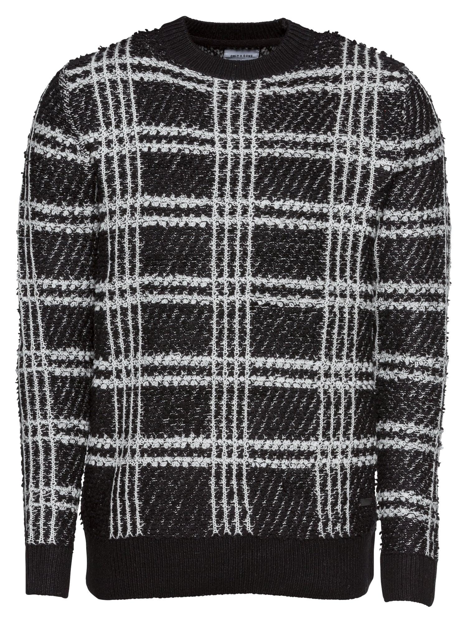Svetr onsKENNY 7 STRUCTURE JAQUARD CREW NECK černá bílá Only & Sons