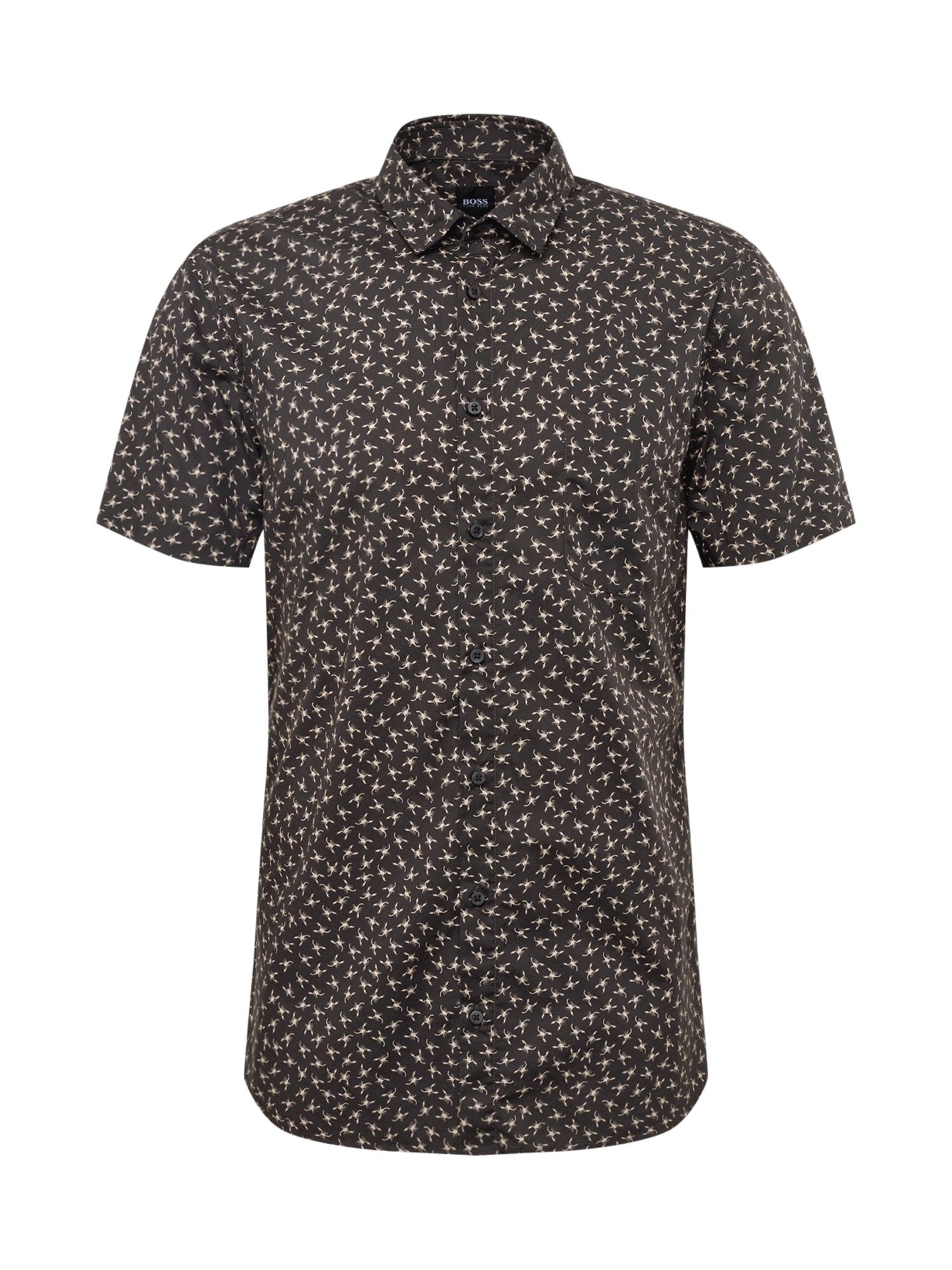BOSS Dalykiniai marškiniai 'Magneton_1-short 10216566 0' kremo / juoda