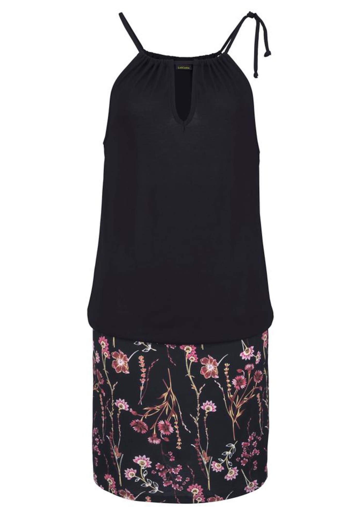 LASCANA Vasarinė suknelė ciklameno spalva / juoda