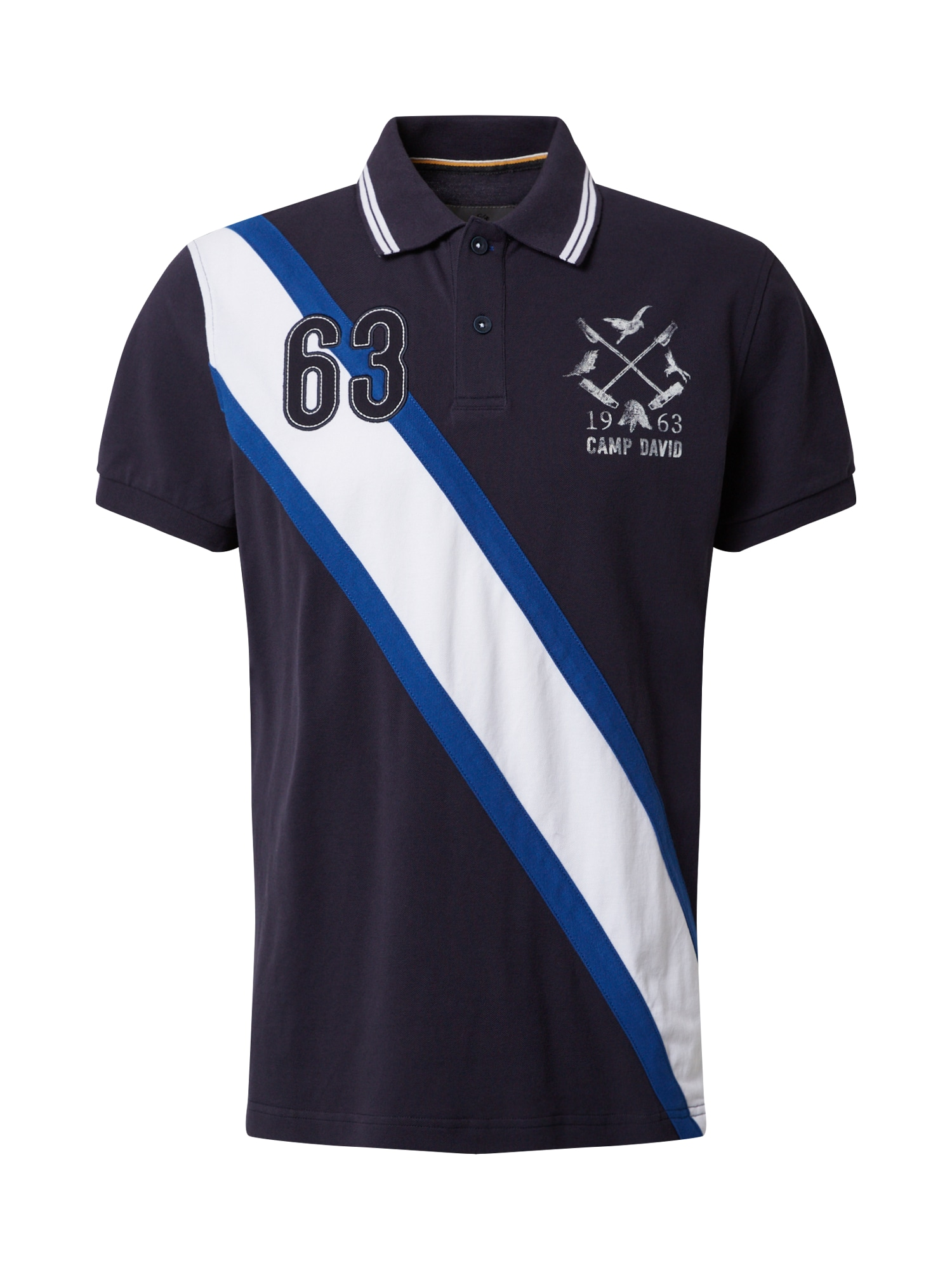 CAMP DAVID Marškinėliai balta / tamsiai mėlyna jūros spalva