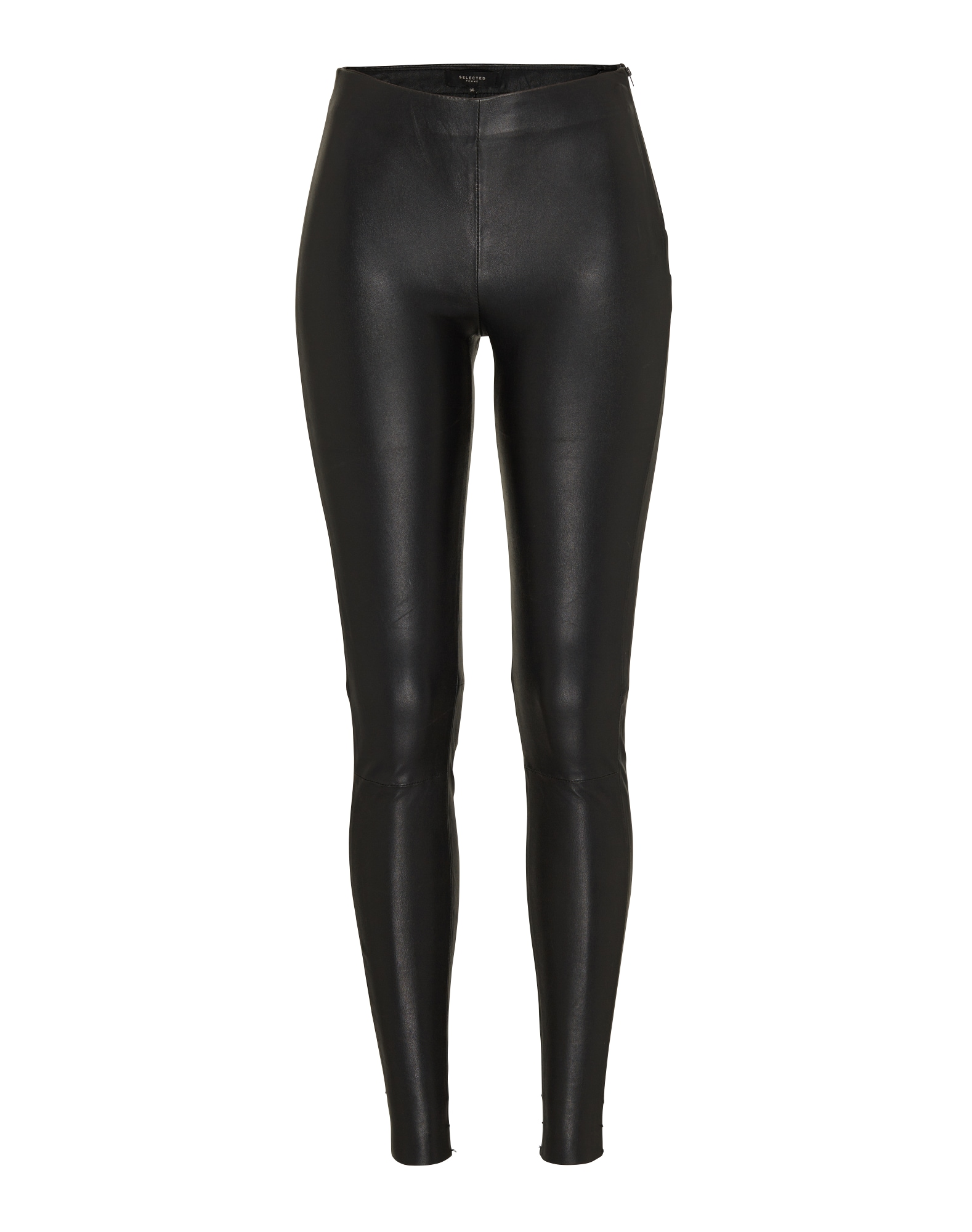 SELECTED FEMME Legíny 'SFSYLVIA MW STRETCH LEATHER'  čierna