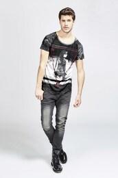 - trueprodigy Herren T-Shirt Foreplay blau,rot,schwarz,weiß | 04057124027310