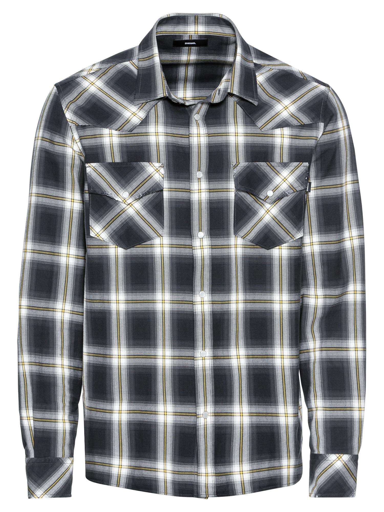 Košile S-EAST-LONG-A HEMD šedá černá DIESEL