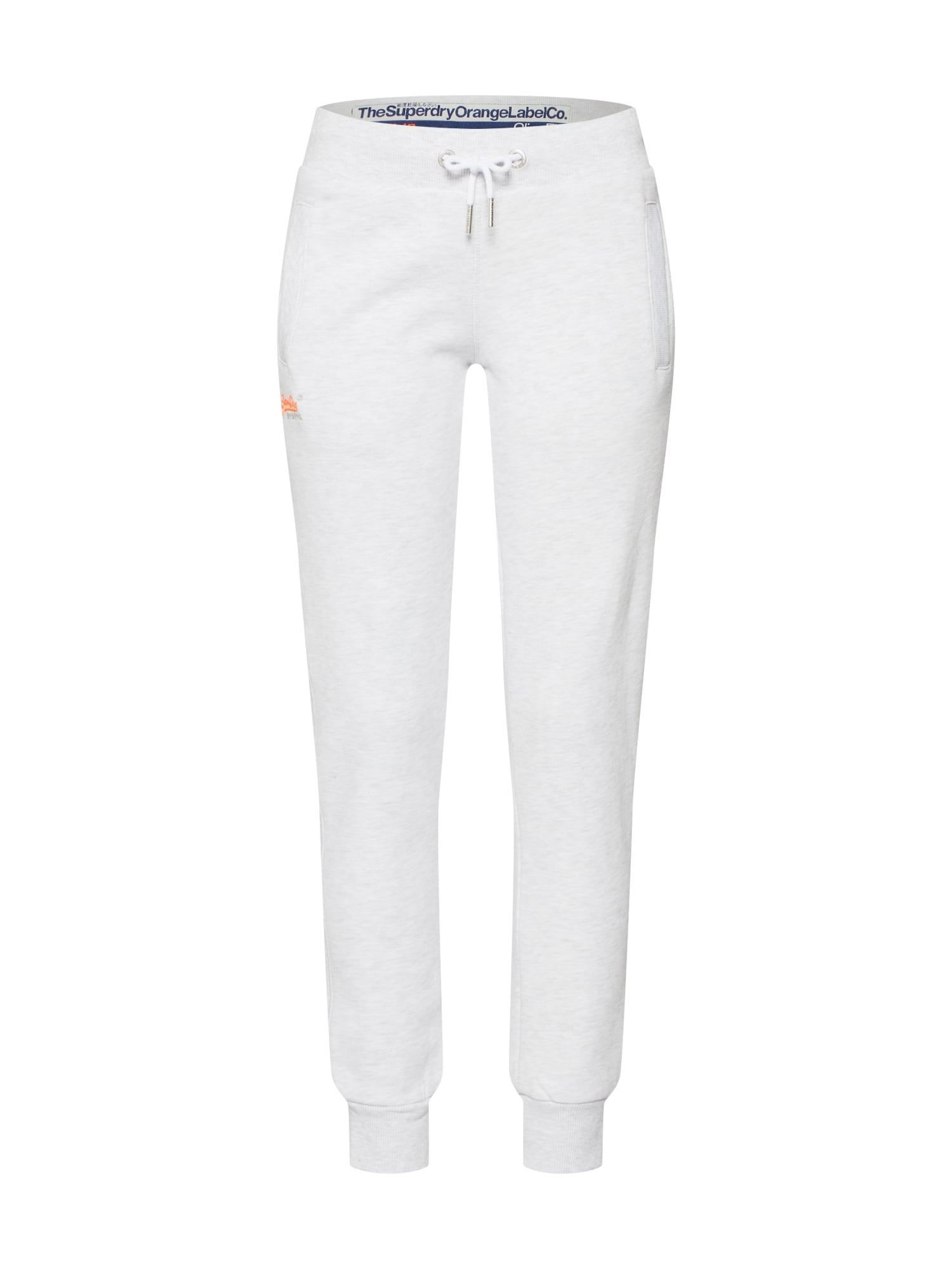 Superdry Pantaloni  gri deschis / portocaliu