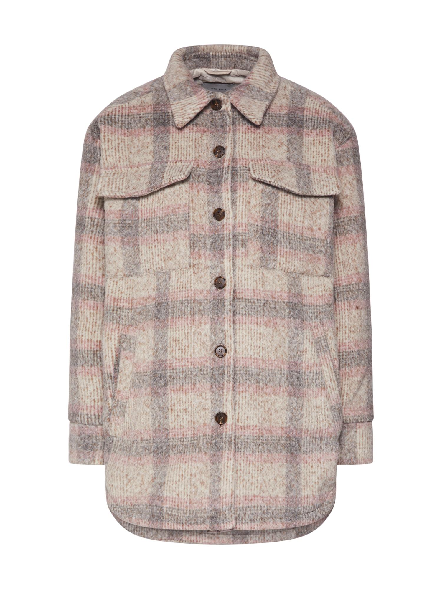 Neo Noir Demisezoninė striukė 'Pike Melange Check Jacket' smėlio / šviesiai pilka / rožių spalva