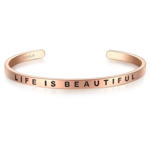 Armbaender für Frauen - Edelstahlarmband Bangle mit LIFE IS BEAUTIFUL Gravur › Nahla Jewels › rosegold schwarz  - Onlineshop ABOUT YOU