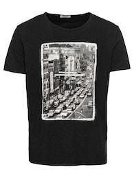 SELECTED HOMME Herren T-Shirt SLHCITY O-NECK TEE W grau,schwarz | 05713738103800