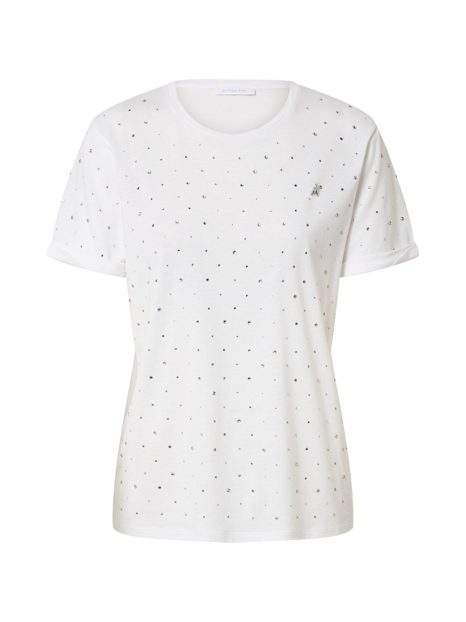 PATRIZIA PEPE Tričko 'Maglia'  stříbrná / bílá