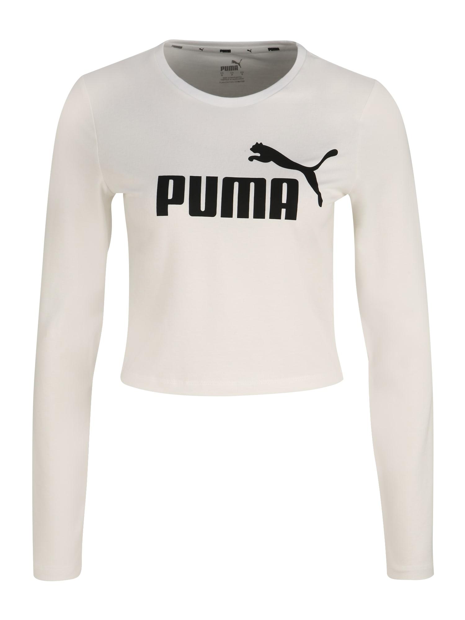 PUMA Tričko 'ESS+'  bílá / černá