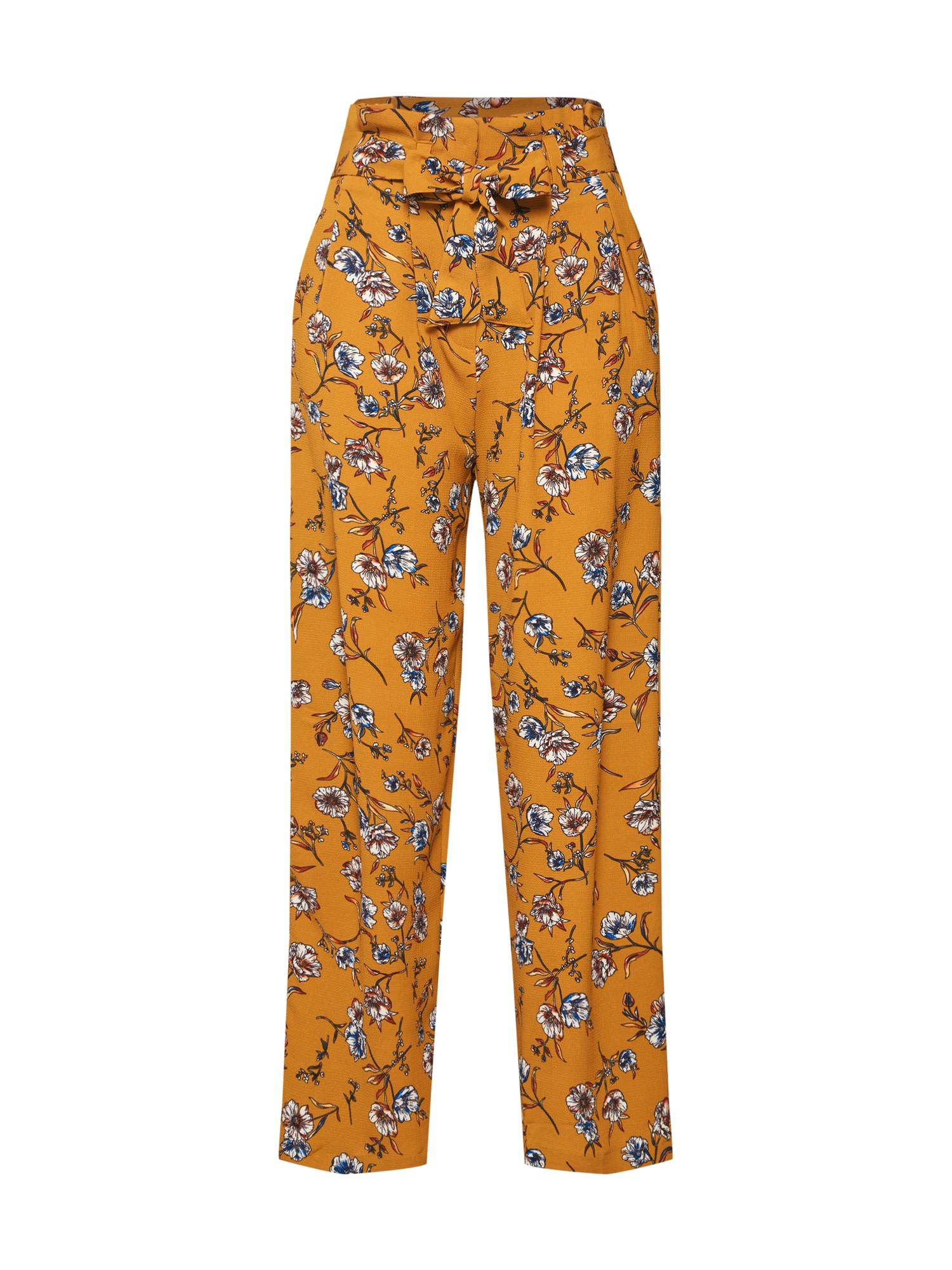 Kalhoty se sklady v pase ELVA modrá tmavě žlutá ONLY