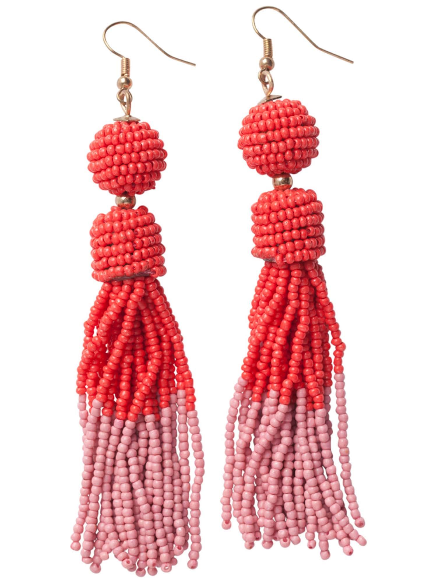 Ohrringe für Frauen - PIECES Quasten Ohrringe gold koralle rosa  - Onlineshop ABOUT YOU
