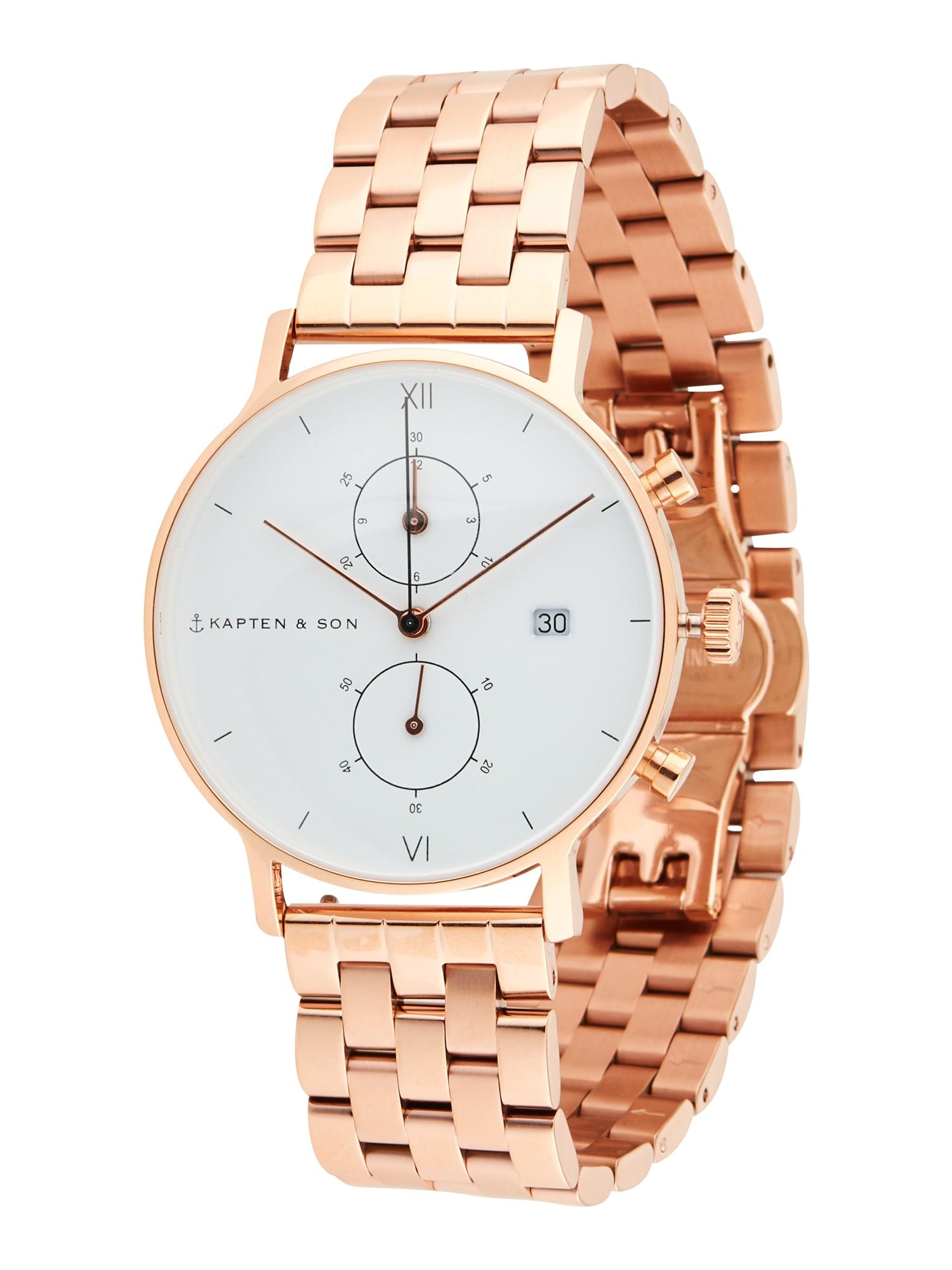 Kapten & Son Analoginis (įprasto dizaino) laikrodis balta / rožinio aukso spalva
