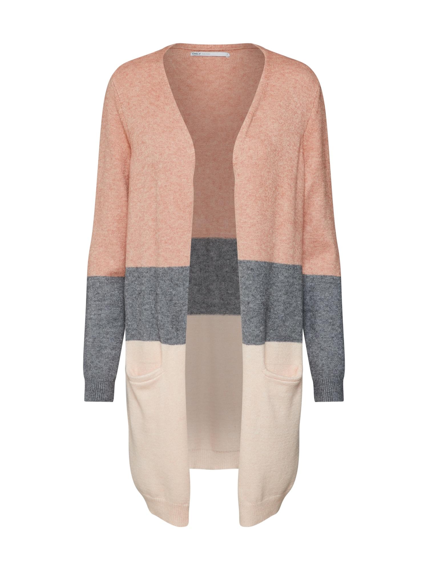 ONLY Kardiganas smėlio / margai pilka / ryškiai rožinė spalva