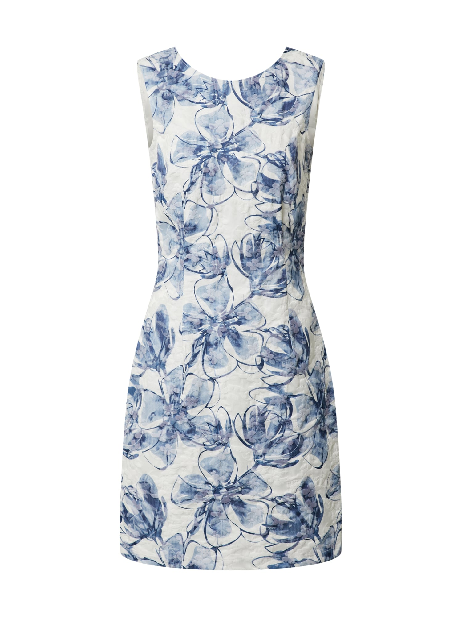 MORE & MORE Šaty 'Printed Jacquard Dress Active'  offwhite / modrá