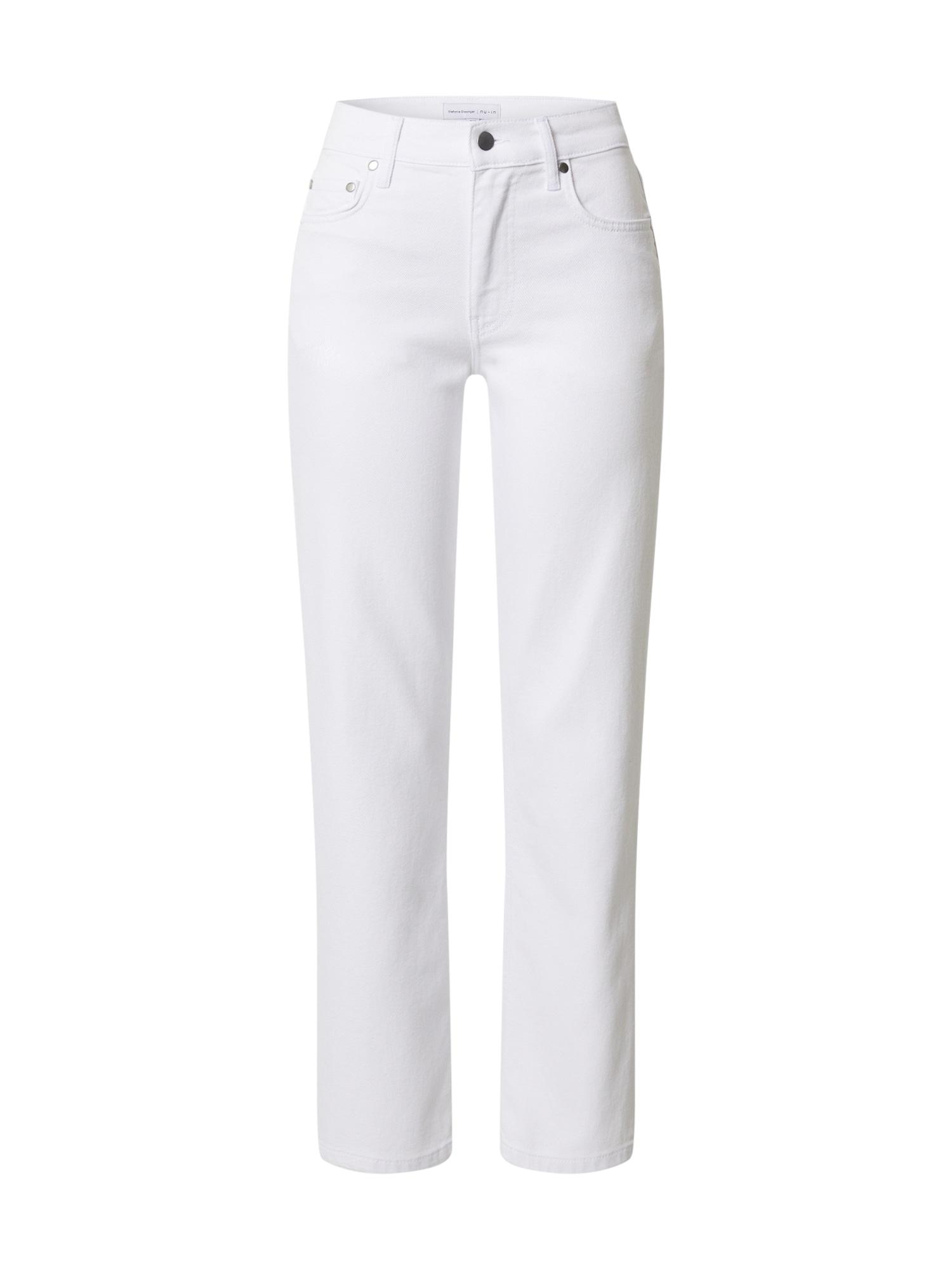 NU-IN Džínsy 'Mid Rise Straight Leg Jeans'  biela