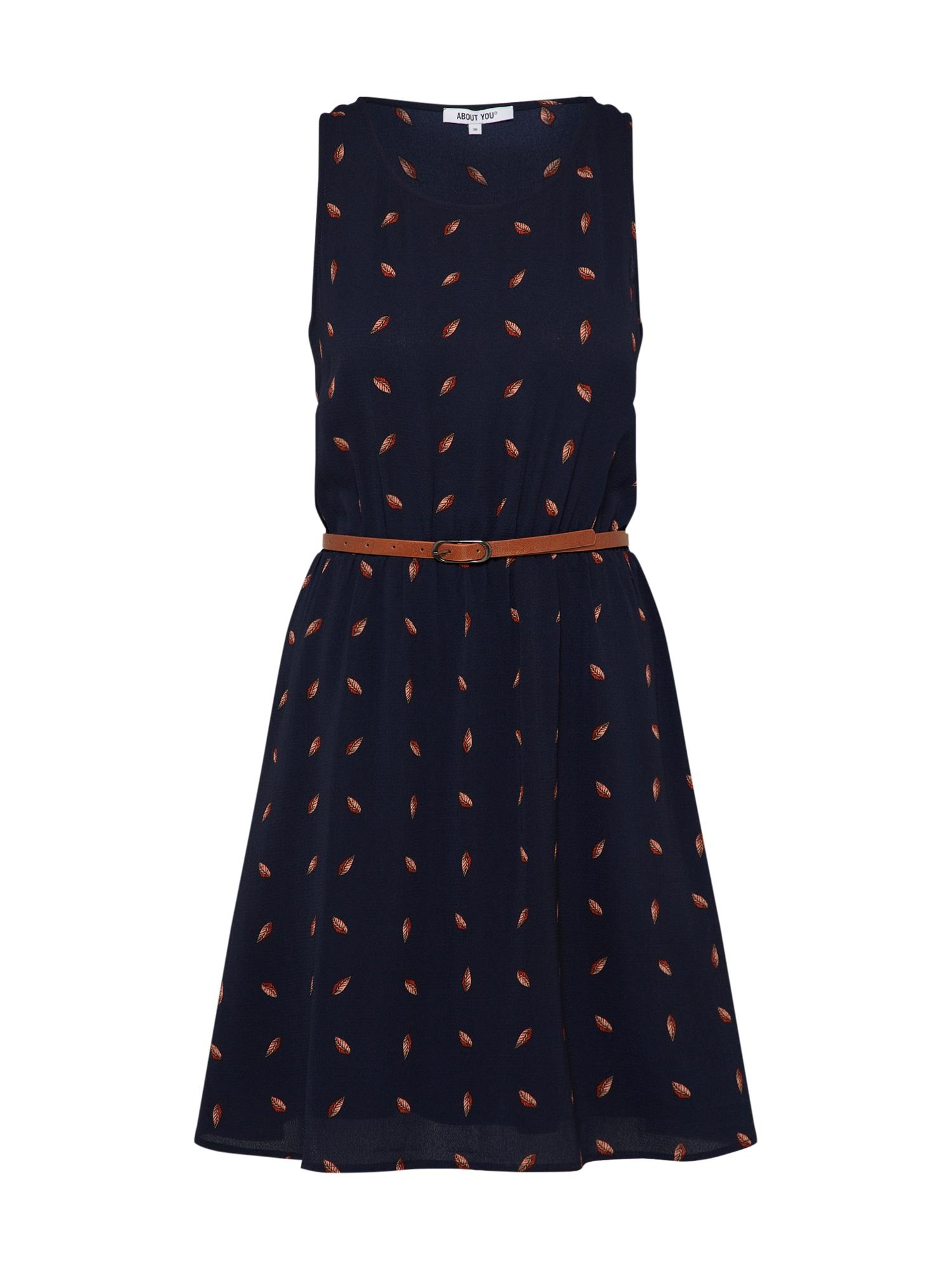 ABOUT YOU Vasarinė suknelė 'Susann' tamsiai mėlyna / rusvai oranžinė