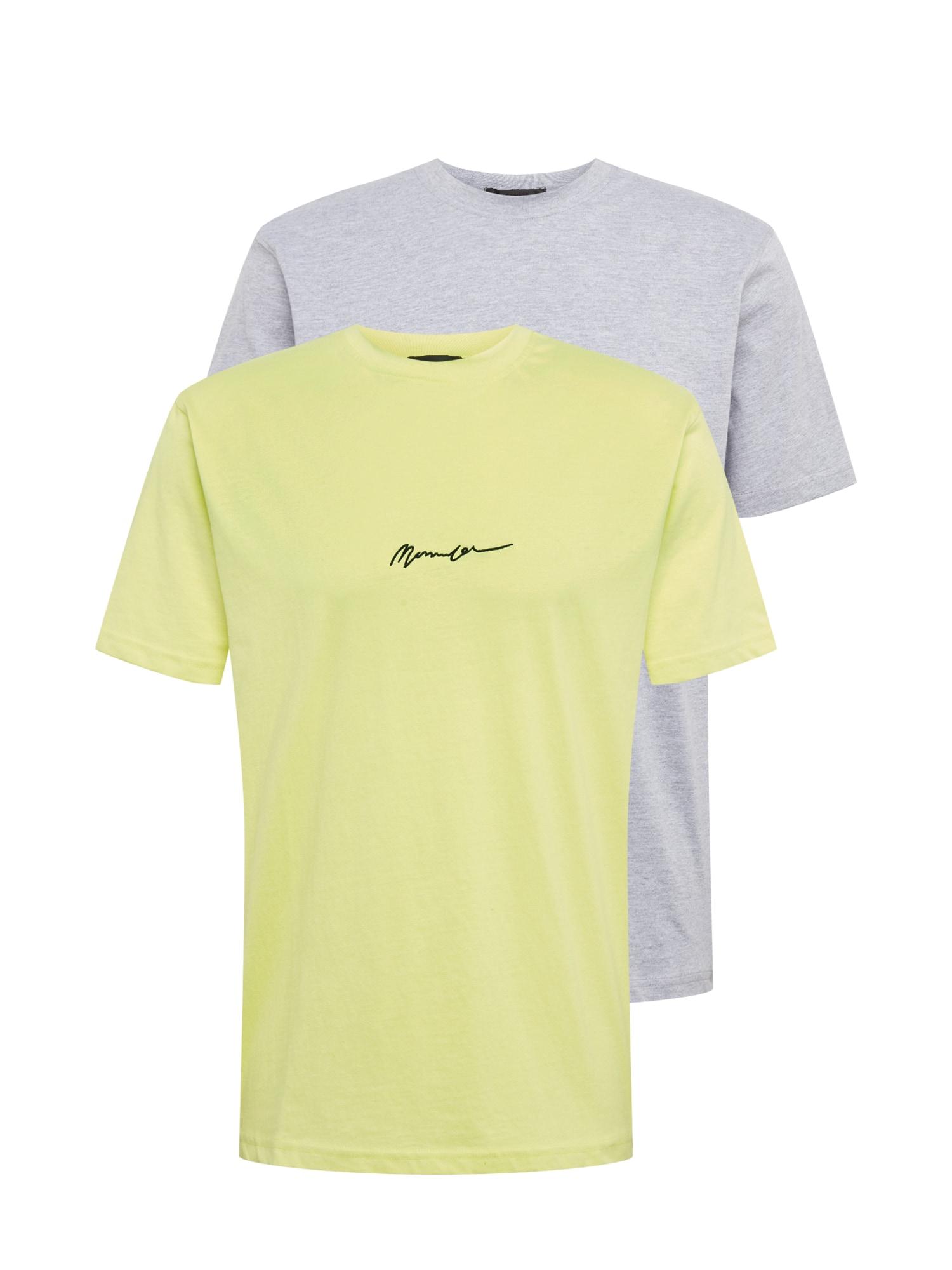 Mennace Tričko 'ESSENTIAL SIGNATURE'  sivá / neónová žltá