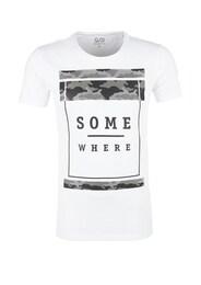 Q/S Designed By Herren Slub Yarn-Shirt mit Rubber-Print grau,weiß | 04056523658057