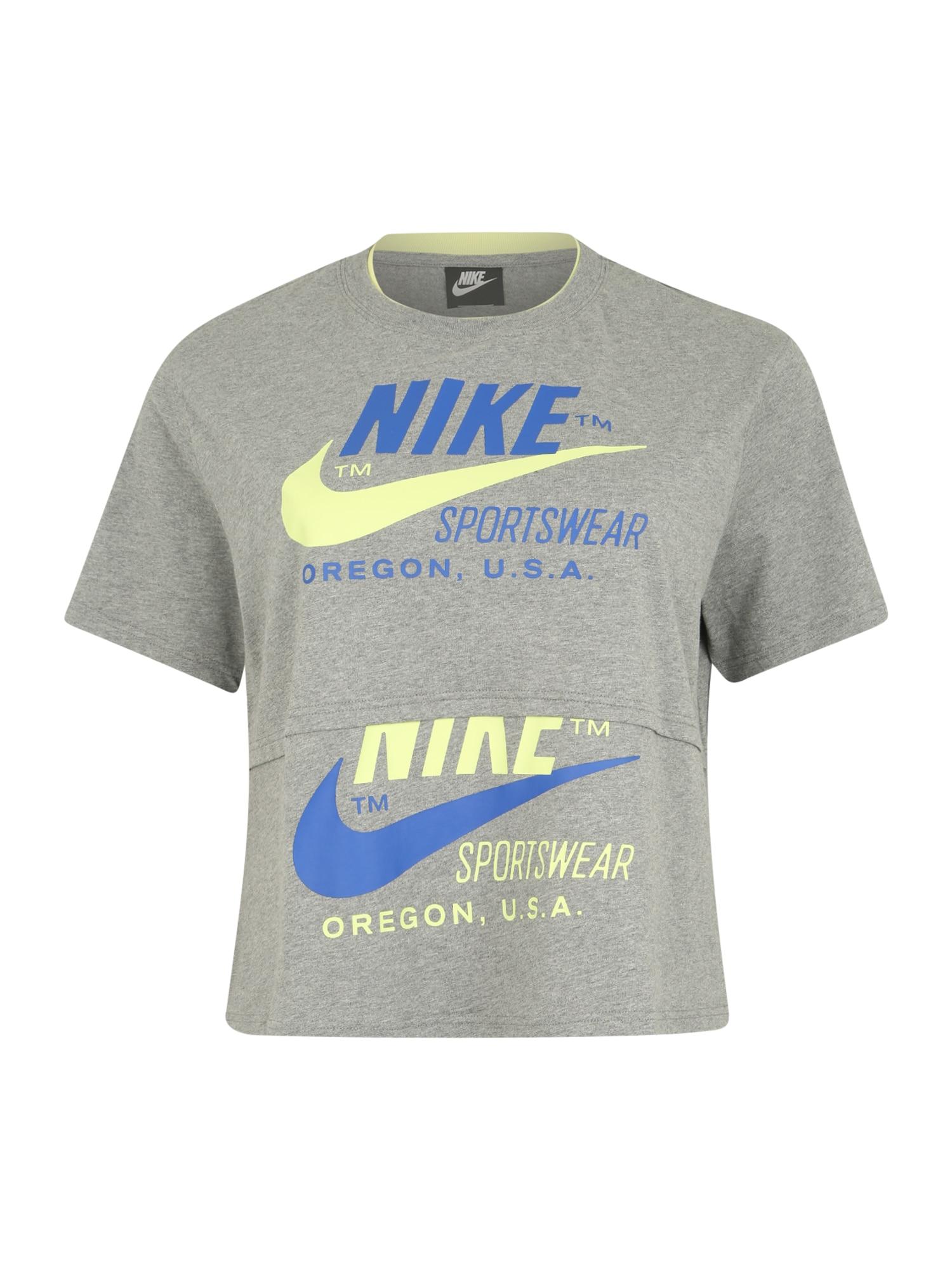 Nike Sportswear Marškinėliai mėlyna / pilka