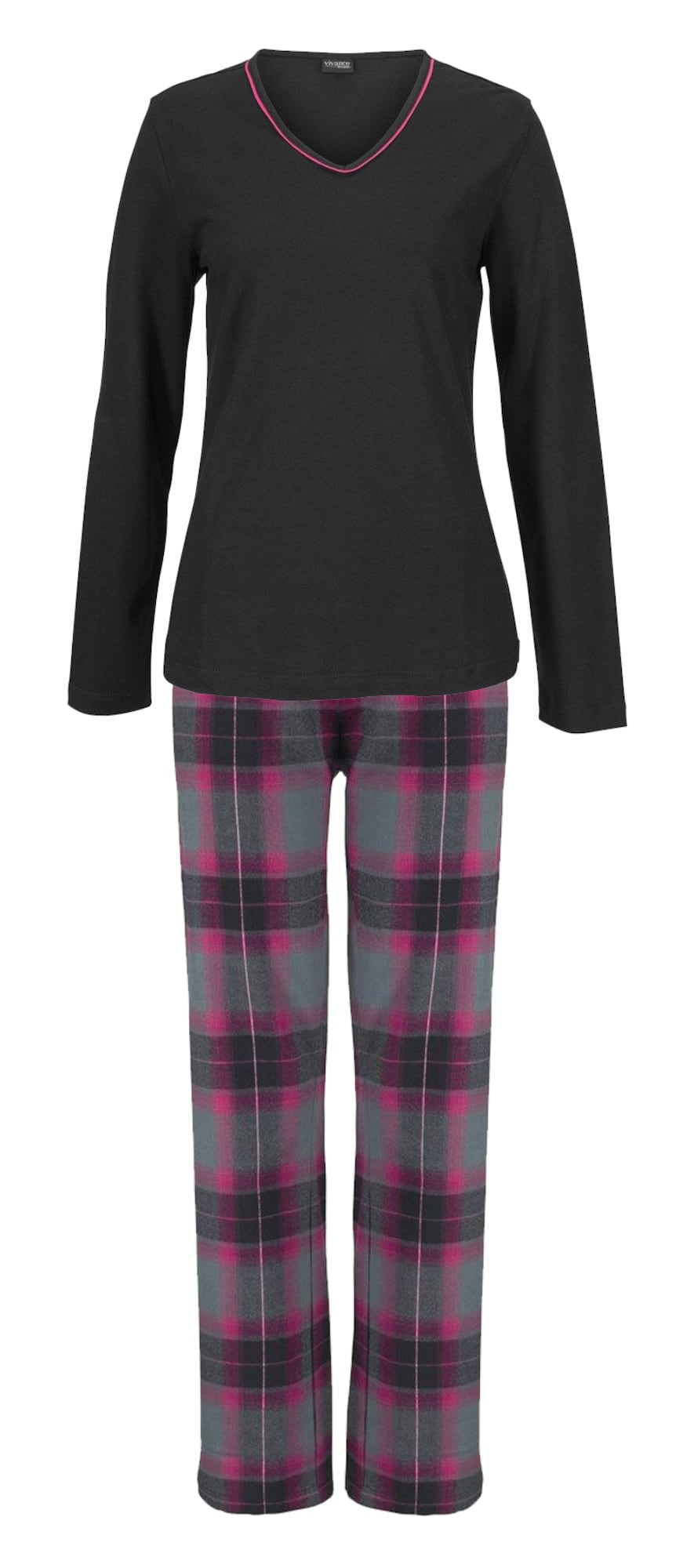 Pyžamo šedá fialová černá LASCANA