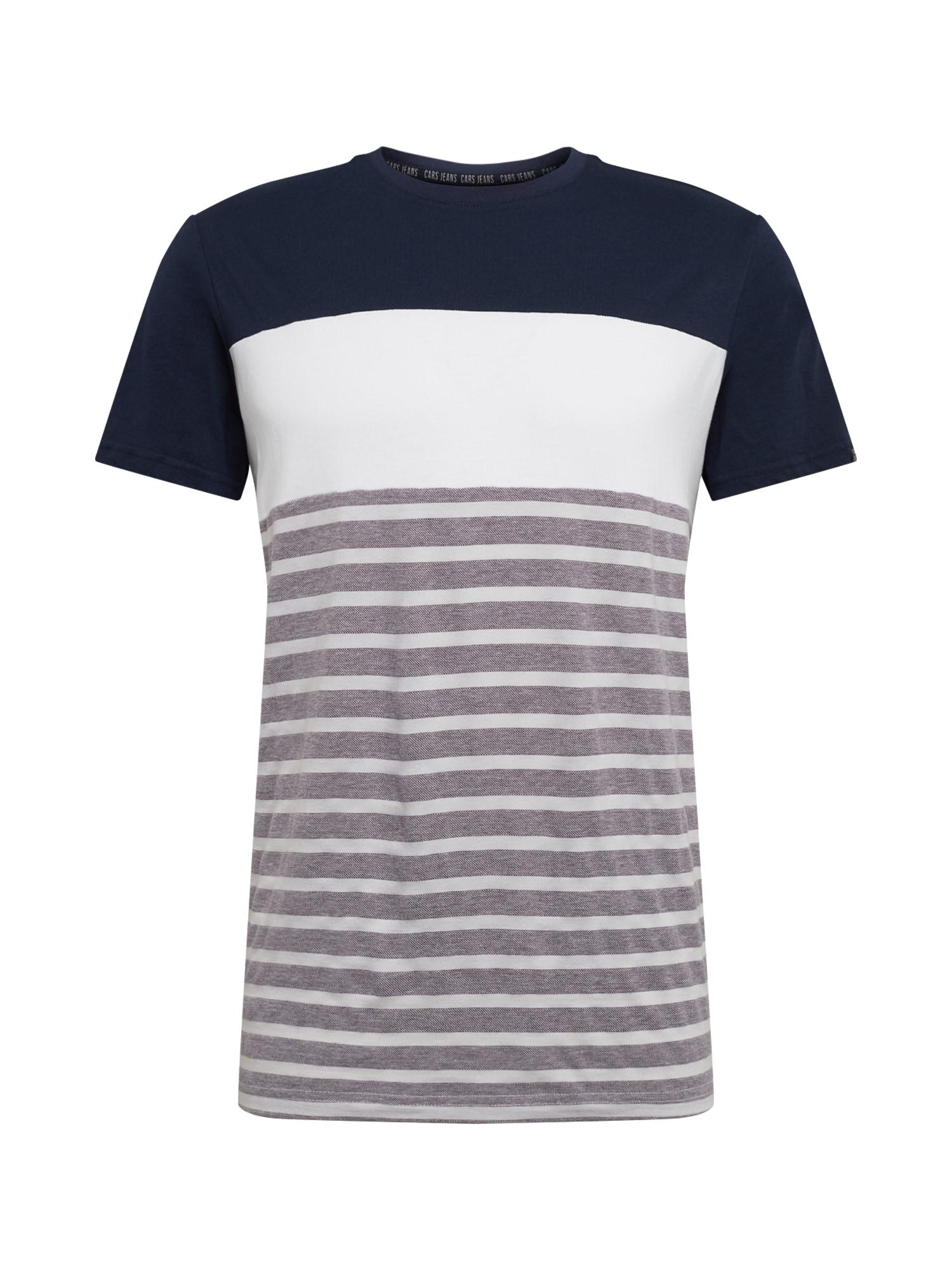 Cars Jeans Marškinėliai 'LETON TS' balta / tamsiai mėlyna