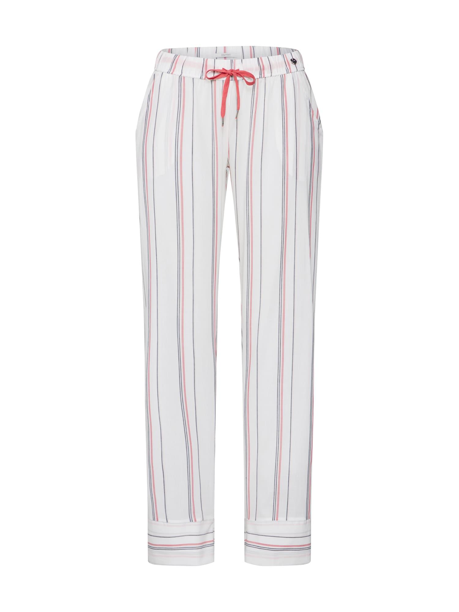 ESPRIT Pižaminės kelnės 'Adah' balta / pastelinė raudona / juoda