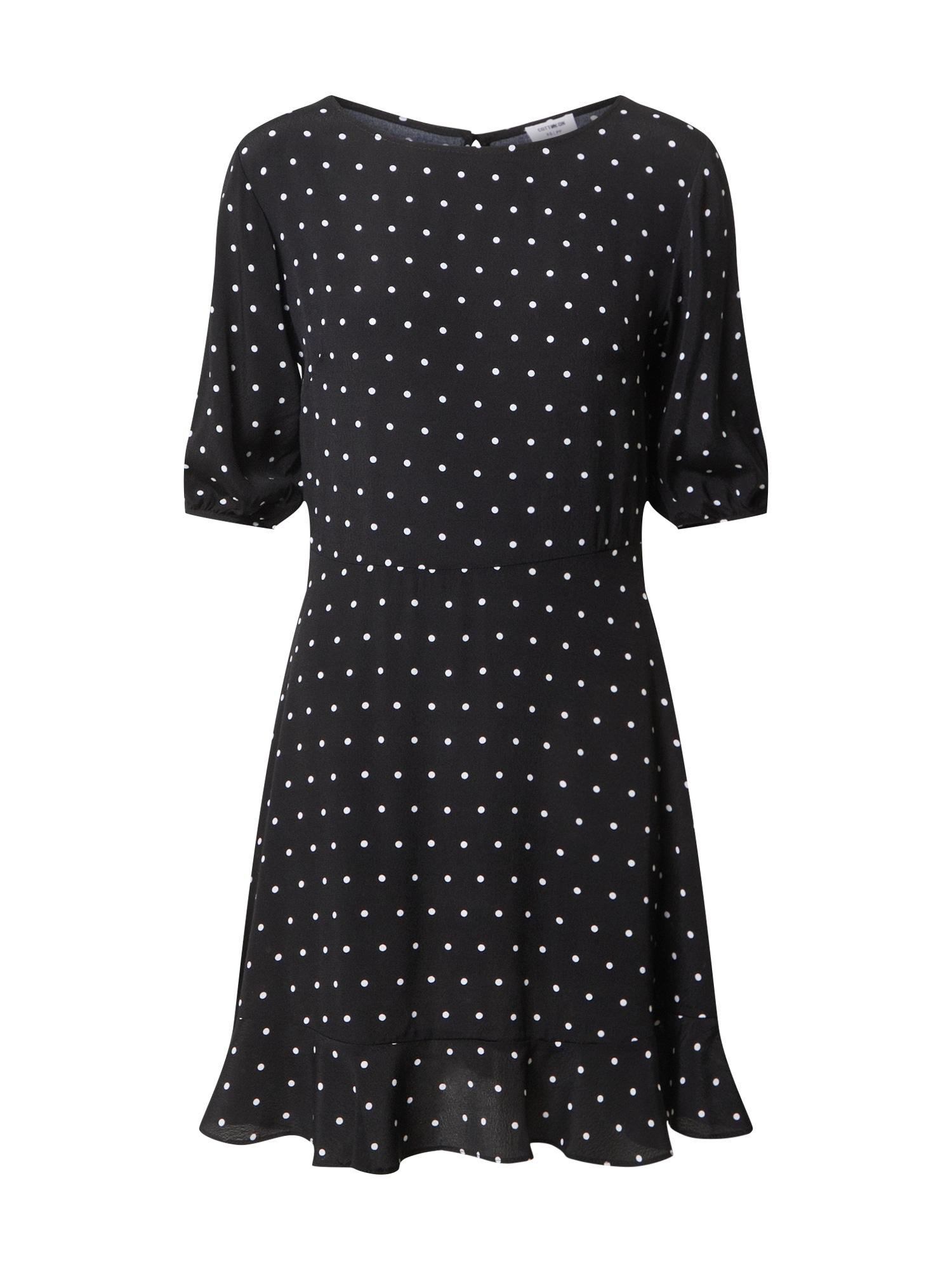 Cotton On Šaty 'Woven Lucie Mini'  čierna / biela