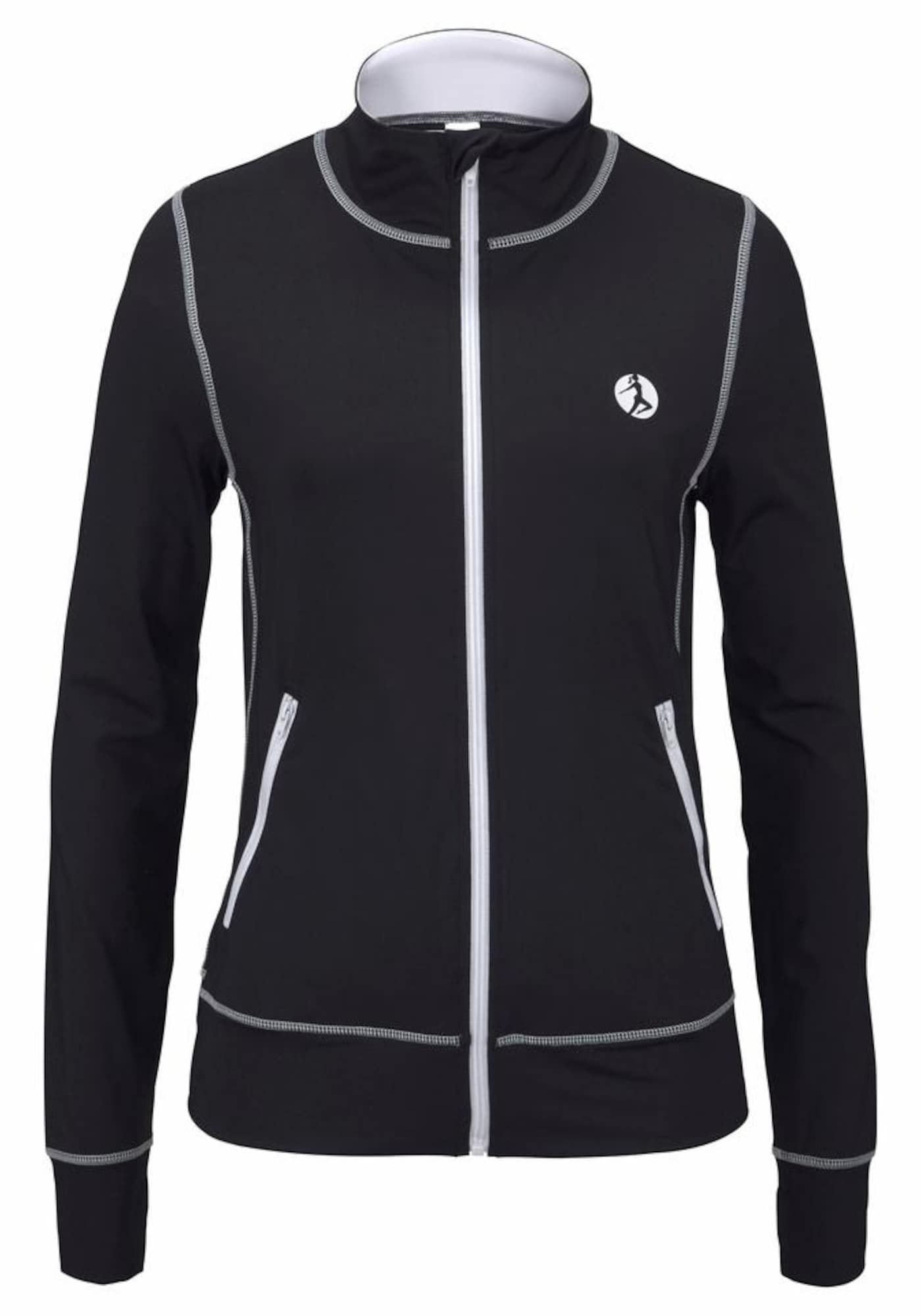 LASCANA ACTIVE Sportinis džemperis juoda / balta