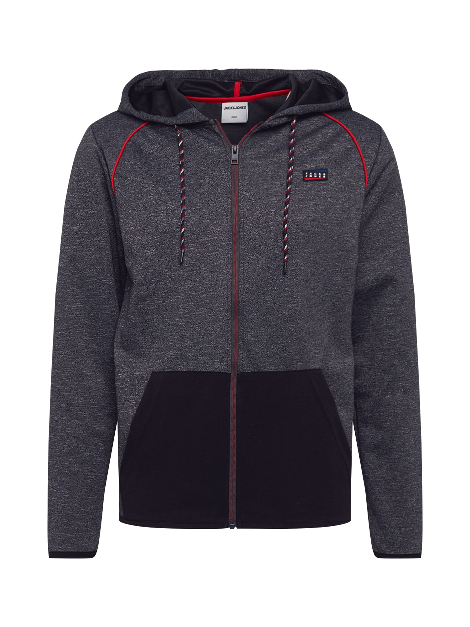JACK & JONES Hanorac 'JCOCOLTS SWEAT ZIP HOOD CAMP'  gri