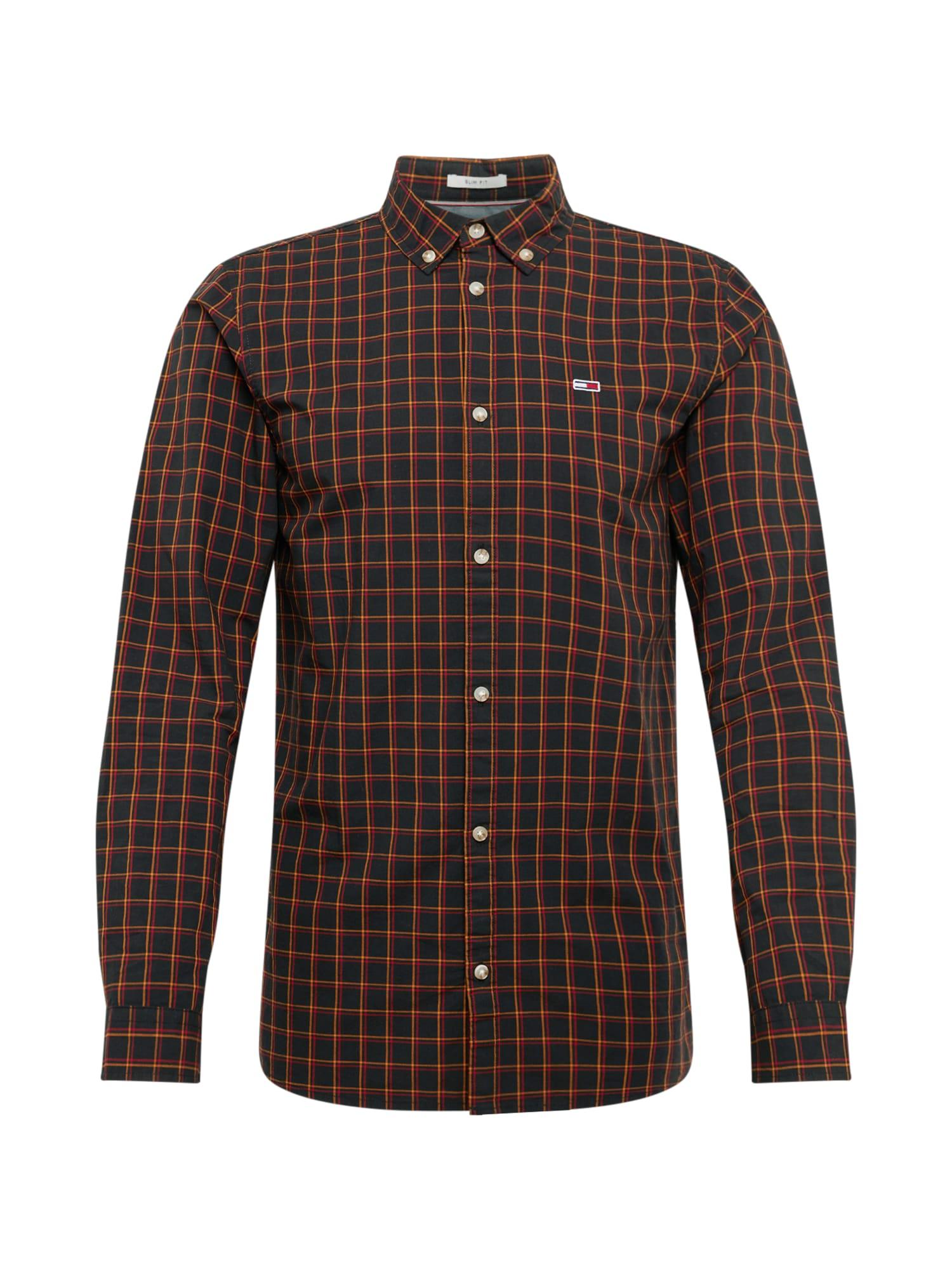 Tommy Jeans Košeľa 'Essential Poplin Check'  červené / čierna / oranžová