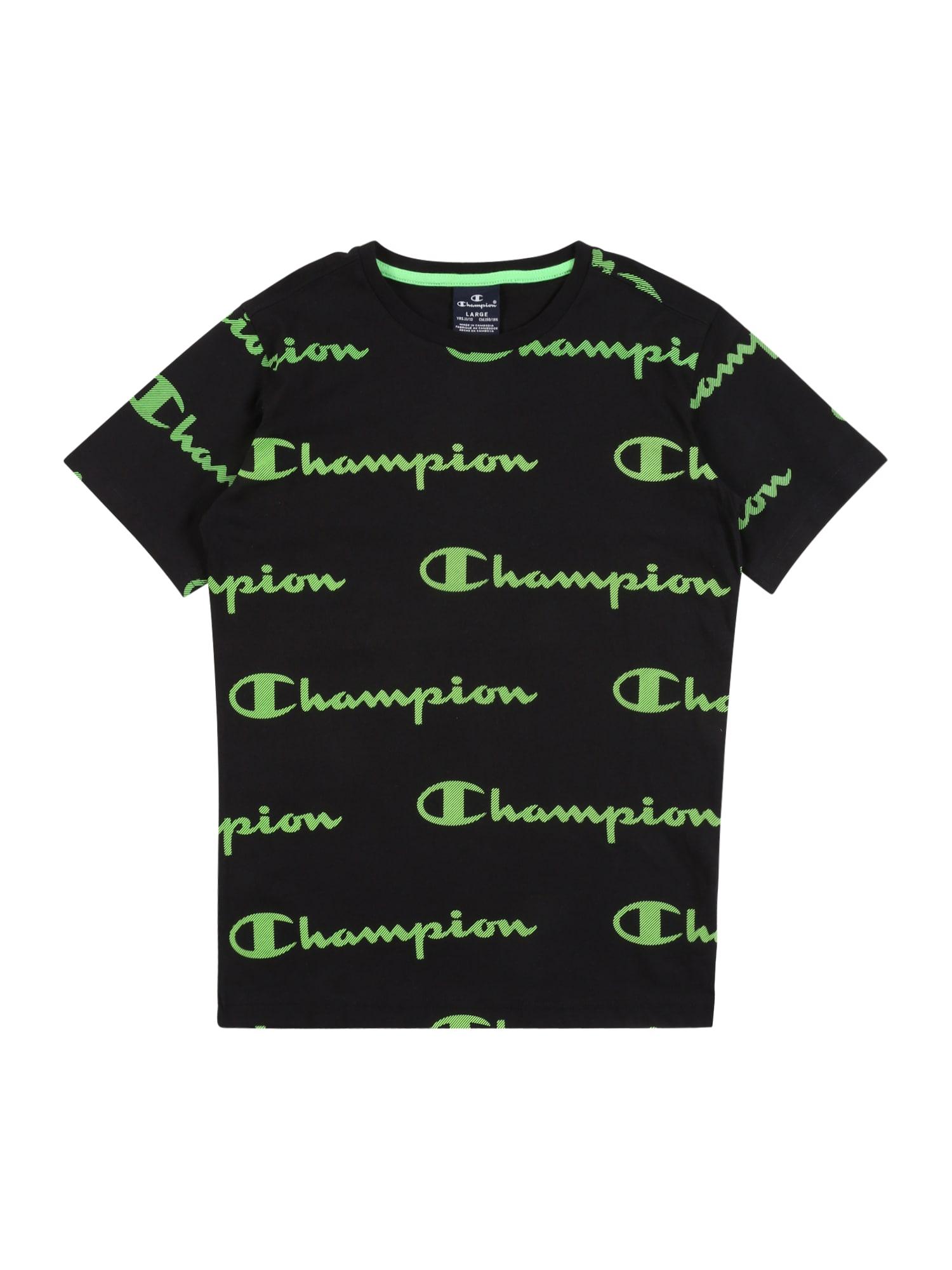 Champion Authentic Athletic Apparel Marškinėliai žalia / juoda