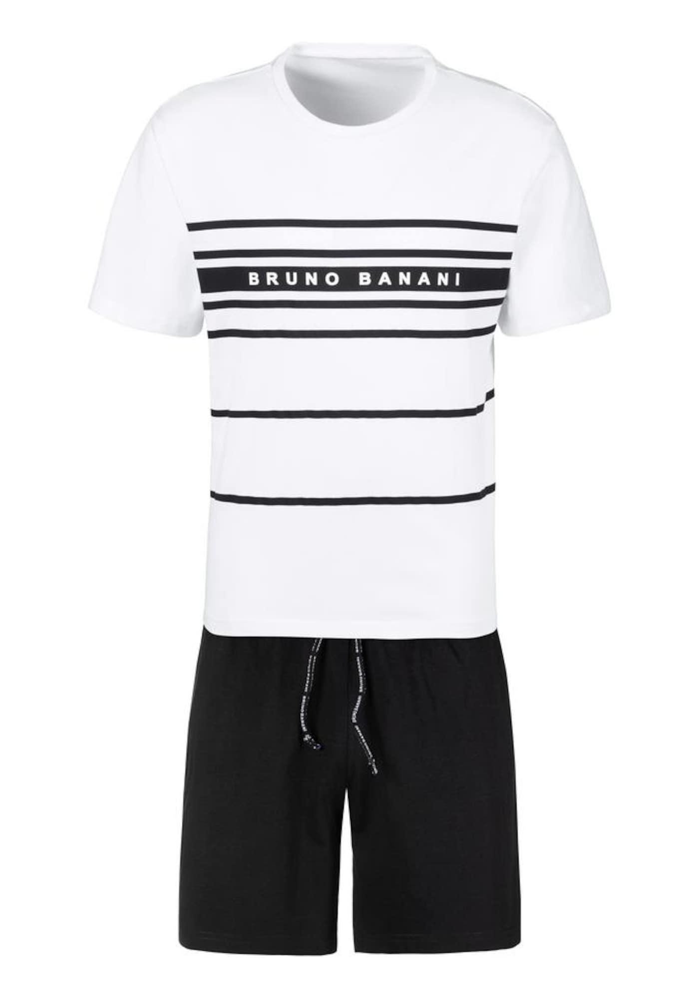 BRUNO BANANI Trumpa pižama balta / juoda