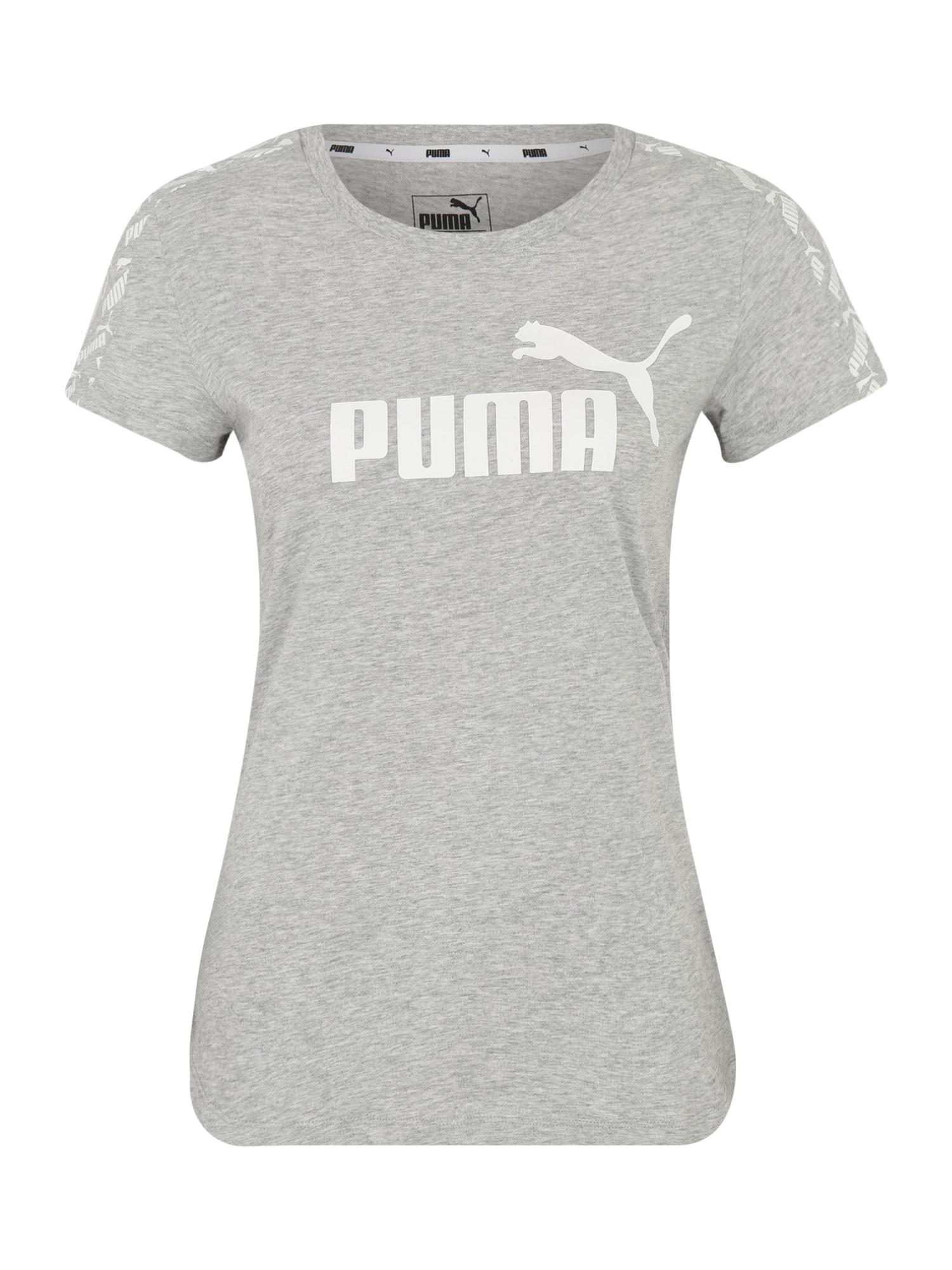 PUMA Sportiniai marškinėliai 'Amplified Tee' balta / šviesiai pilka